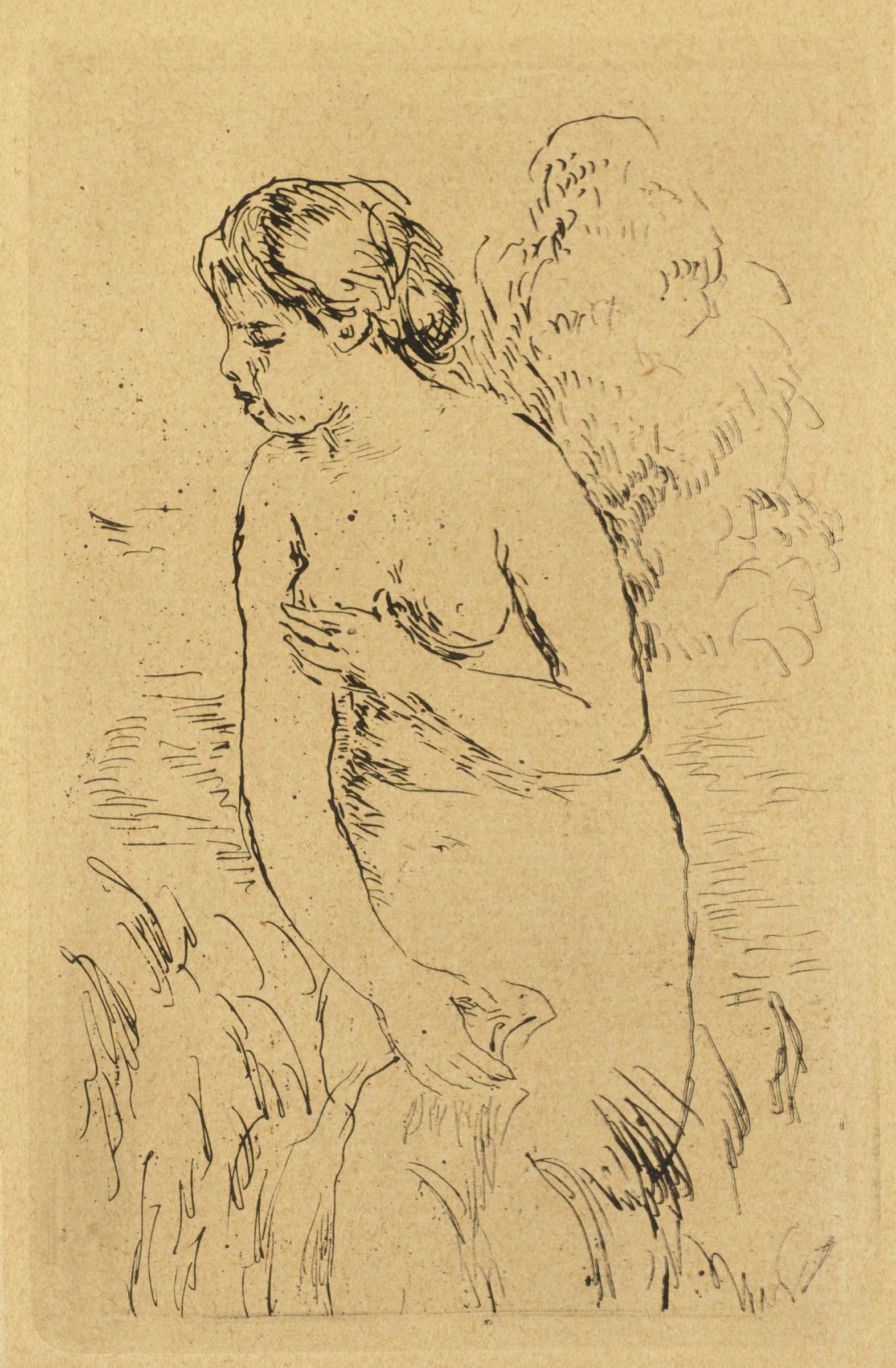 Sketch of nude woman, who partially covers herself, standing near a body of water and vegetation.