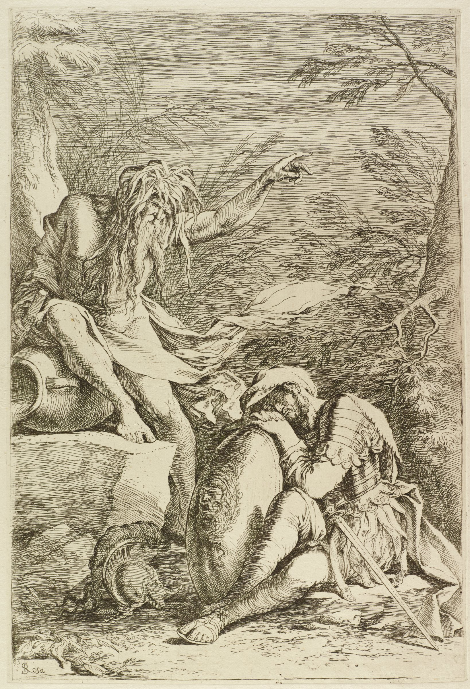 Aeneas rests his head on his shield as he dreams of the god Tiber. Tiber leans against an overturned vessel and points up and outward with his right hand. They are set within a dense forest.