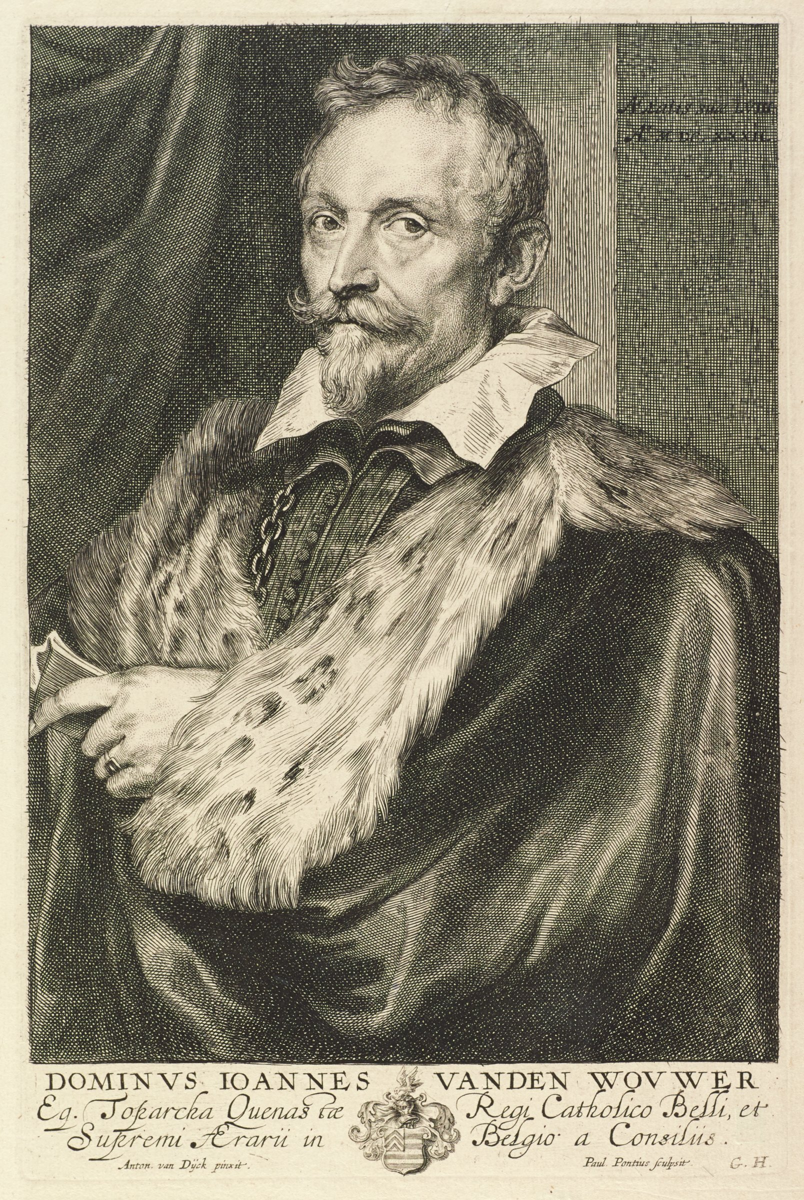 Jan van den Wouwer was a scholar, financial adviser and diplomat. He is seen here in portrait from the waist up, slightly angled to the left, looking out at the viewer. He wears a fur lined cloak that is draped over both shoulders and held in his left hand. He stands infront of a swagged curtain on the left. This is from the Gillis Hendricx edition of the Iconography (Icones Principum Virorum Doctorum, Pictorum Chalcographorum Statuorum nec non Amatorum Pictoriae Artis Numero Centum), made between 1632-44.