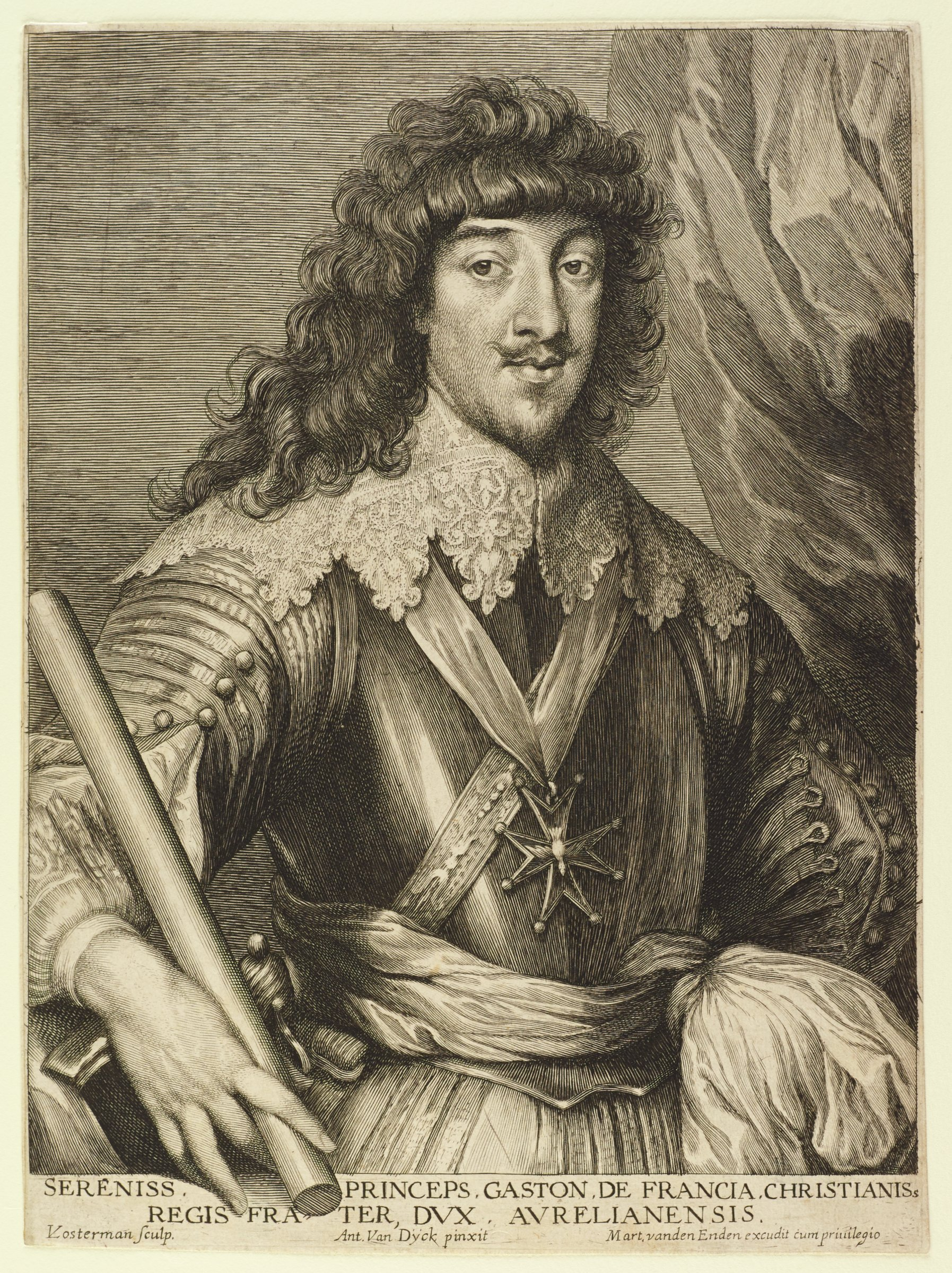 Gaston of France, Duck of Orleans, is shown in portrait from the waist up, looking out at the viewer. He wears a lace falling band, a cross medal, and holds a baton in his right hand. He has long, curly hair with a thin mustache and goatee. Behind him on the right is a curtain. This is from the Gillis Hendricx edition of the Iconography (Icones Principum Virorum Doctorum, Pictorum Chalcographorum Statuorum nec non Amatorum Pictoriae Artis Numero Centum), made between 1632-44.