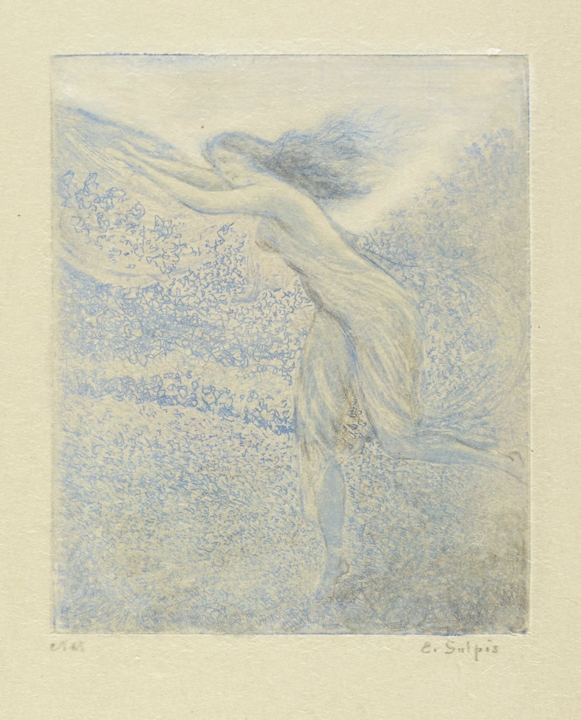 A woman with a sheer flowing dress and long hair runs towards the left with arms stretched outward.