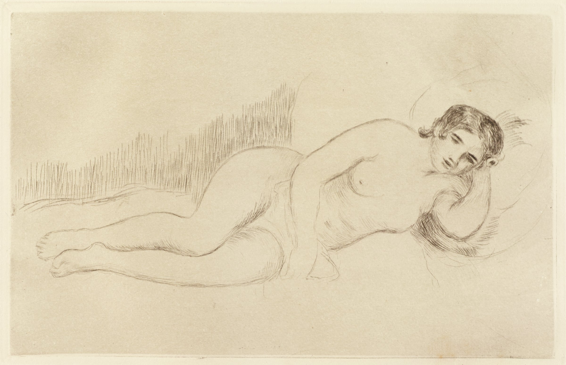 Sketch-like etching of a nude woman reclining with her head resting on her left arm.