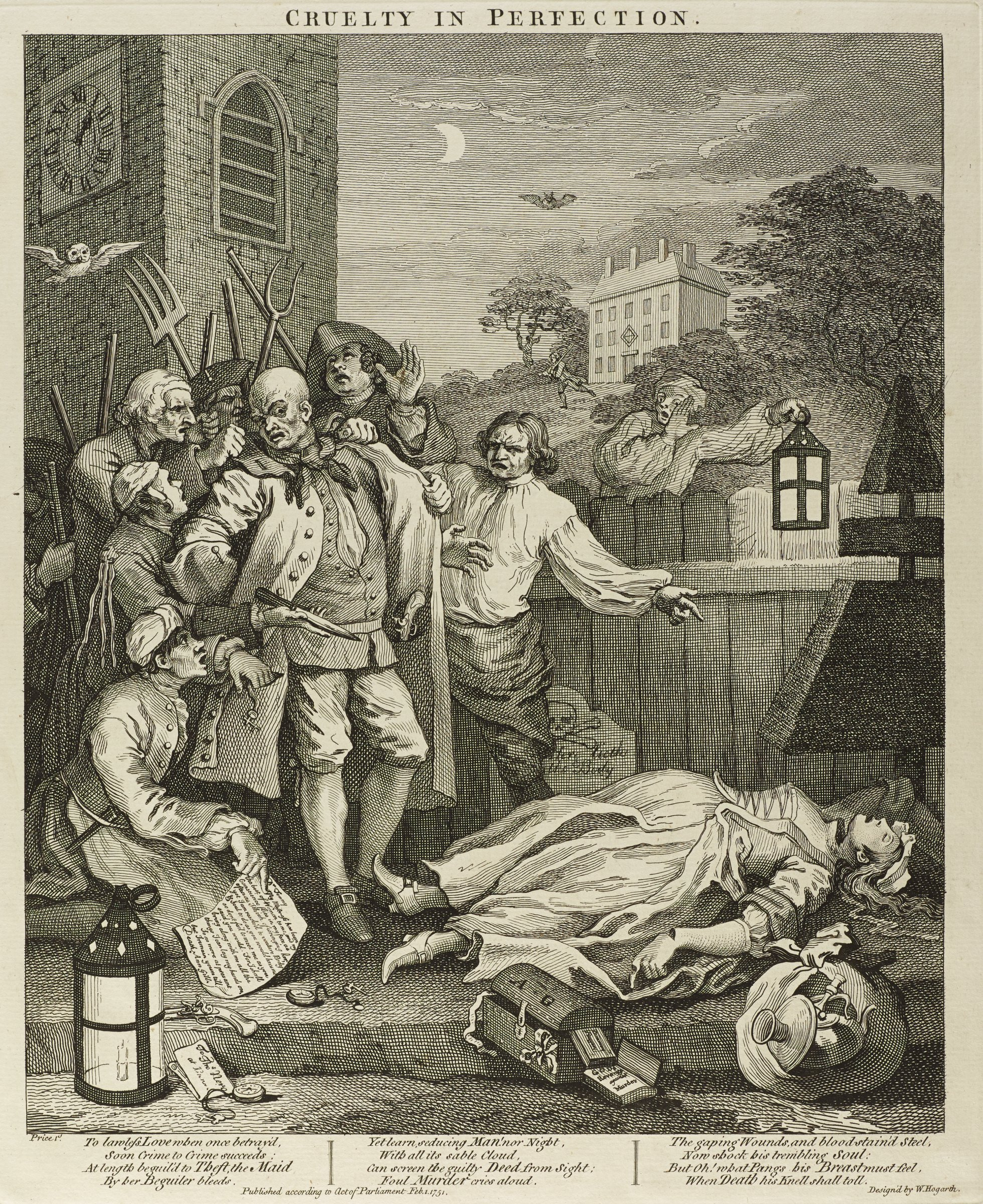 A woman lies dead on the street as a group of men with pitchforks stands over her. Hogarth published this set to alert his contemporaries about the cruel treatment that animals had to endure in eighteenth century England.