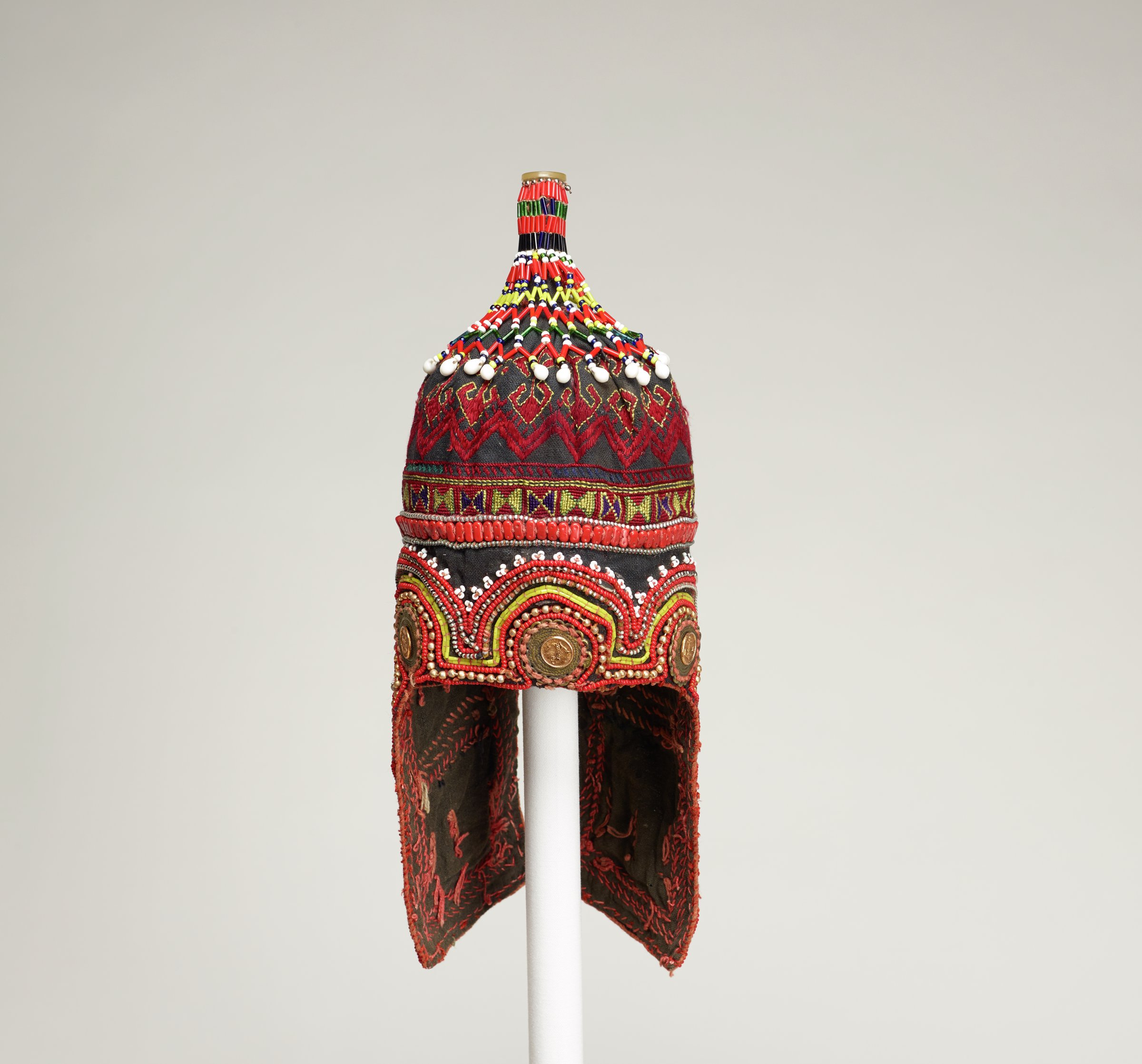 Hat, Uzbekistan, cotton textiles, plastic and glass beads, metal ornaments, buttons, snaps, zippers, chains, and embroidery thread