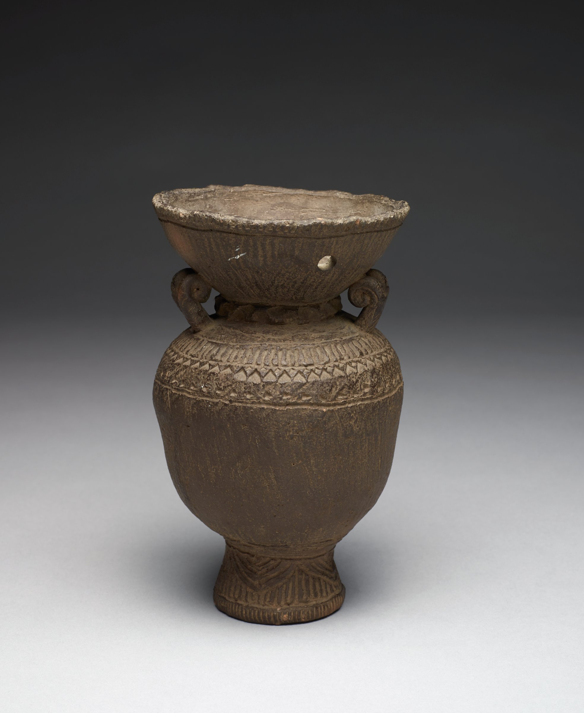 Vase with Carved Mouth, Neck, Shoulder and Foot Featuring Lotus Motifs