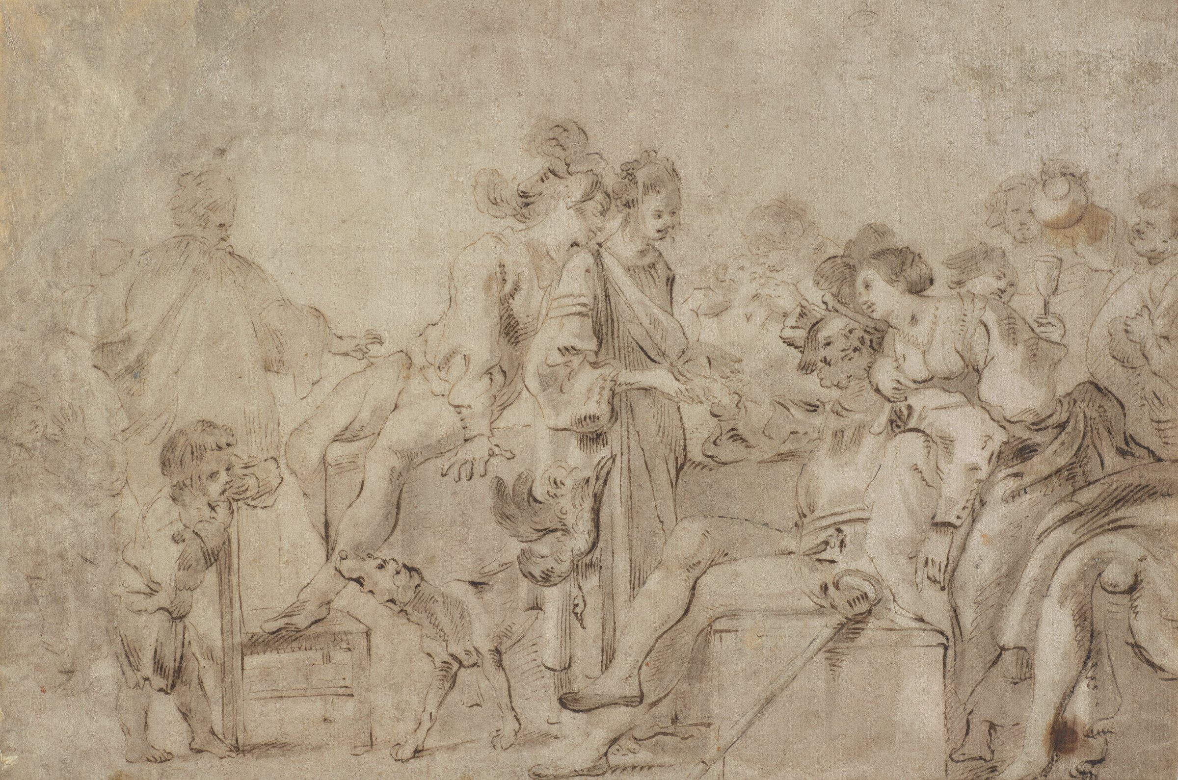 In a party setting, a woman stands in the center of the composition reading the palm of a seated man. Others gather around to watch the scene. A dog walks through the crowd. On the right, a man pours another figure a glass of wine.