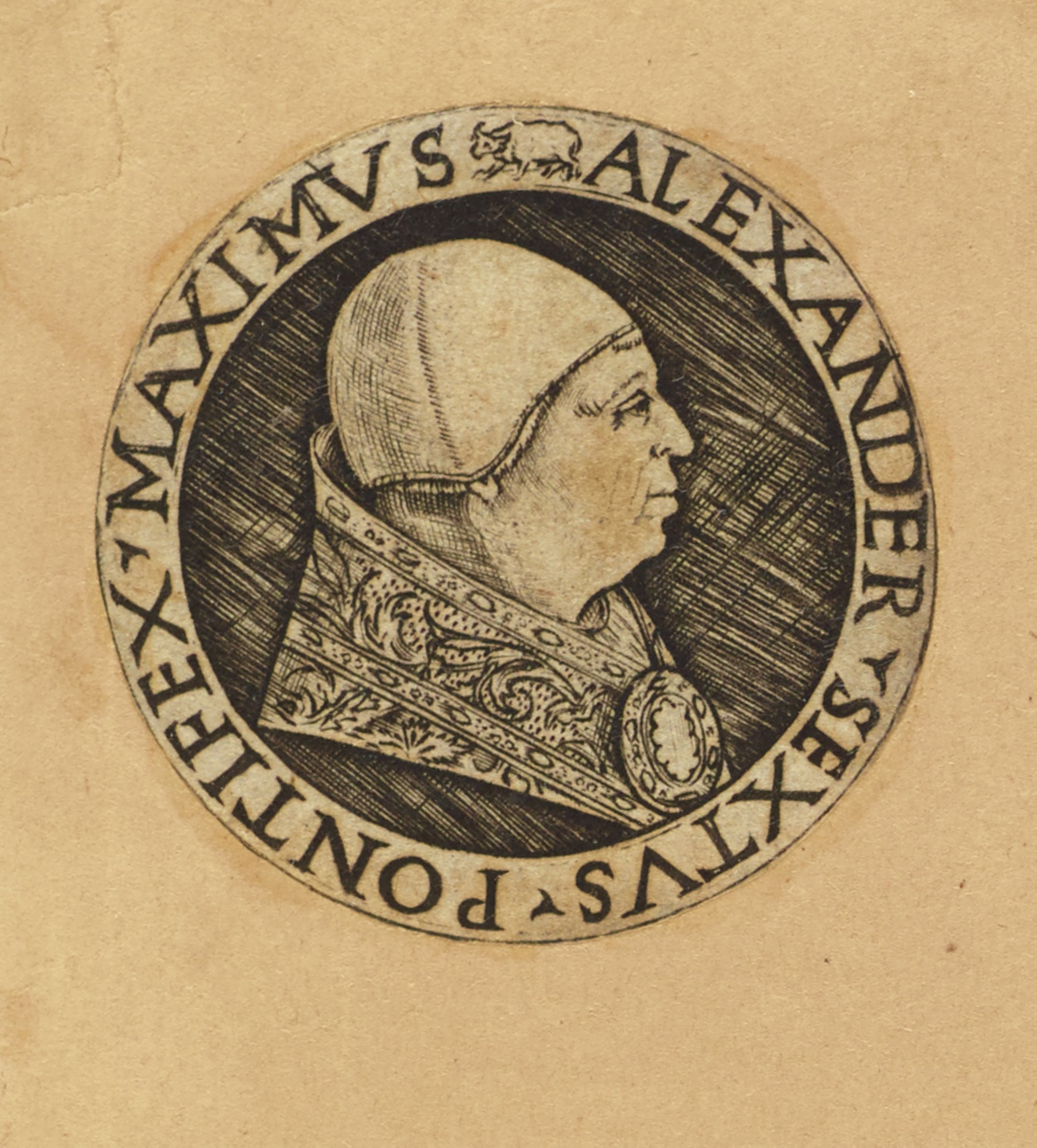 """Bust portrait in profile of Pope Alexander VI facing right. Surrounding the portrait is inscribed his title and name in Latin, """"Pontifex Maximus- Alexander Sextus."""""""