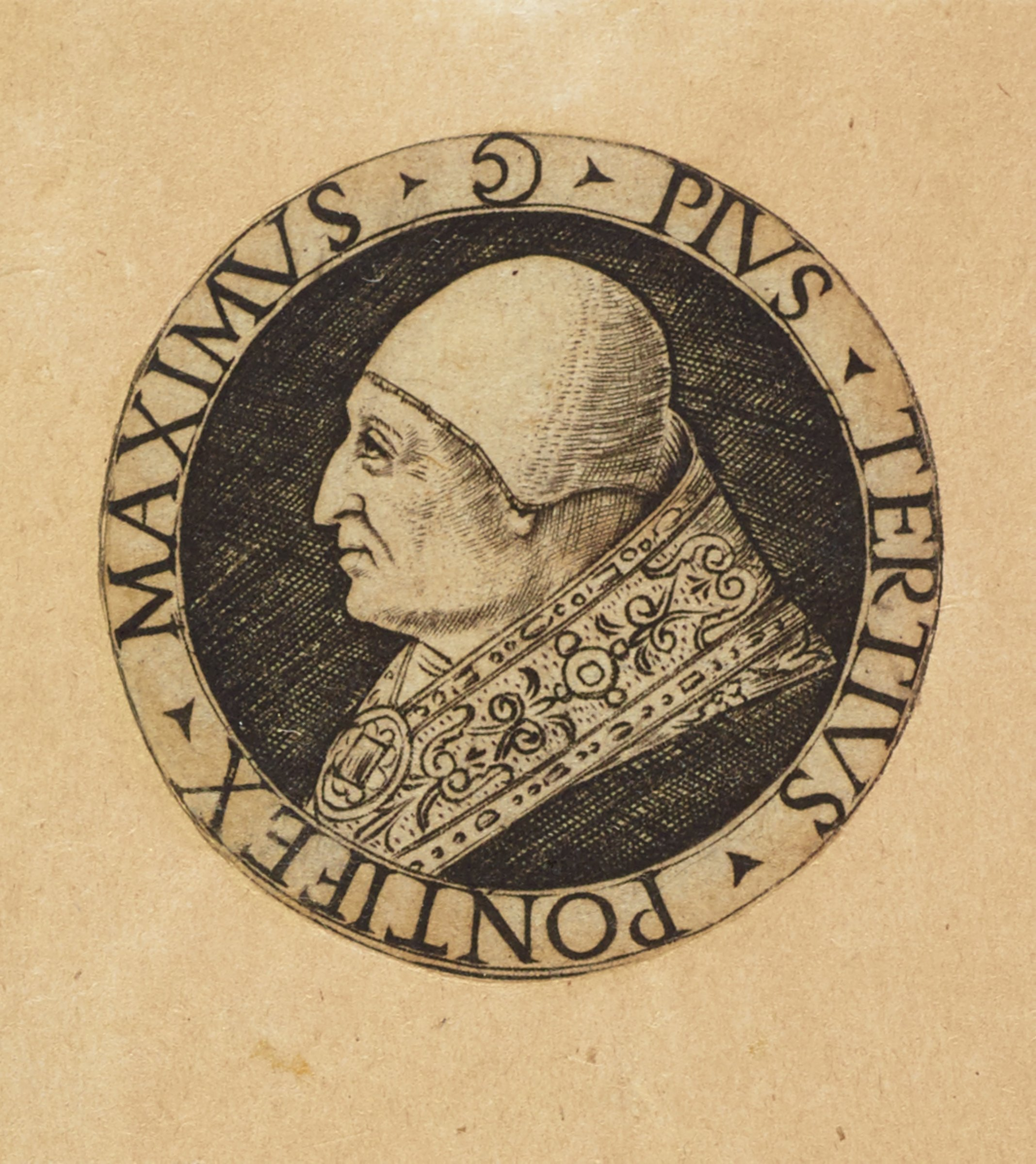 "Bust portrait in profile of Pope Pius III facing left. Surrounding the portrait is inscribed his title and name in Latin, ""Pontifex Maximus- Pius Tertius."""