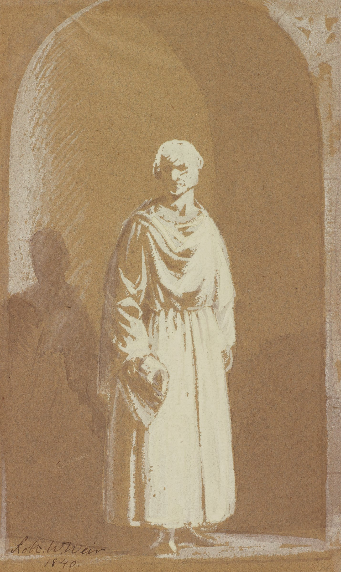 Robed man (perhaps a monk) standing in a Romanesque archway, his shadow cast to the left
