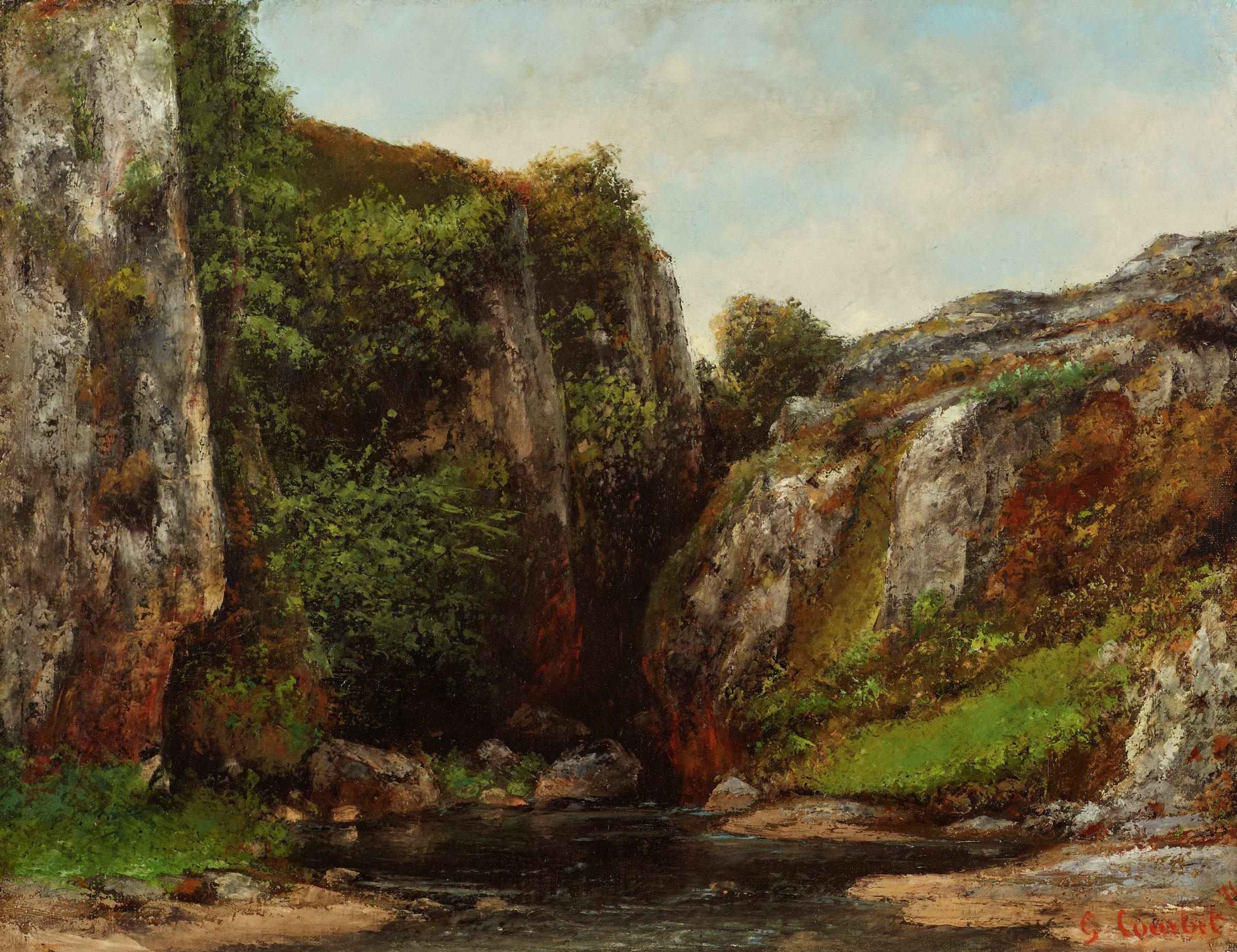 Entrée d'un gave (Source of a Mountain Stream), Gustave Courbet, oil on canvas