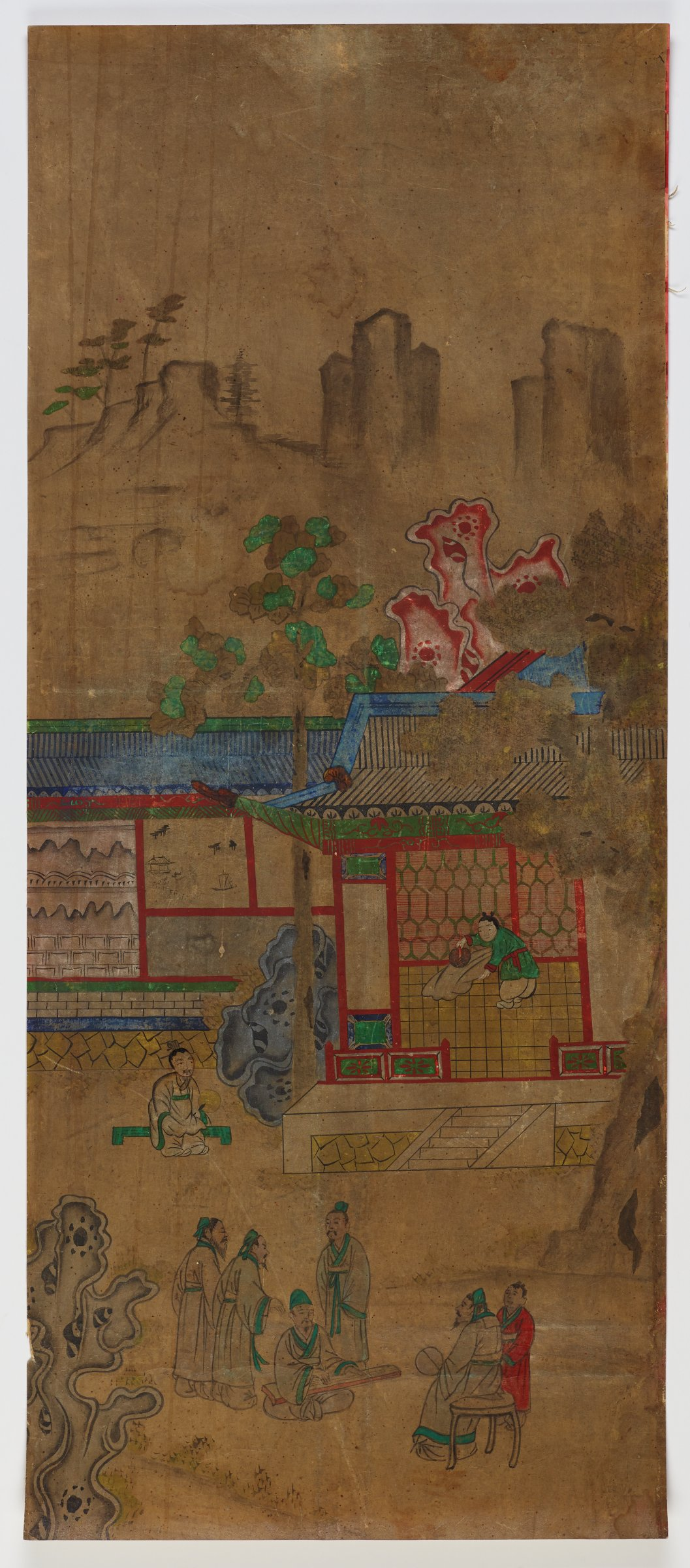 """2/8. """"Huang Xiang Fans the Pillow"""" from """"Chapter on Filial Sons"""" Illustrated Stories Exemplifying the Five Confucian Virtues (Oryun Haengsildo)One of eight unmounted screen panel paintings with scenes of filial piety. Originally intended to be mounted as a folding screen."""