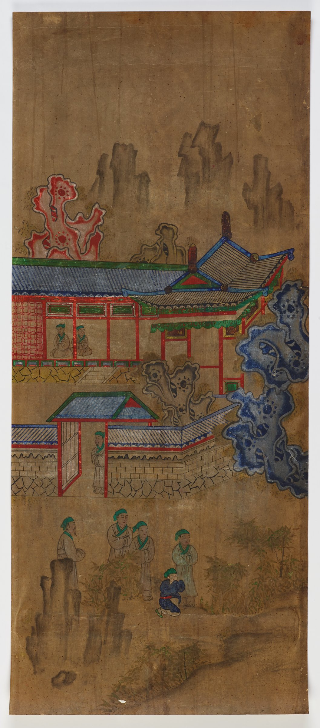 """from """"Chapter on Filial Sons"""" Illustrated Stories Exemplifying the Five Confucian Virtues (Oryun Haengsildo)One of eight unmounted screen panel paintings with scenes of filial piety. Originally intended to be mounted as a folding screen."""