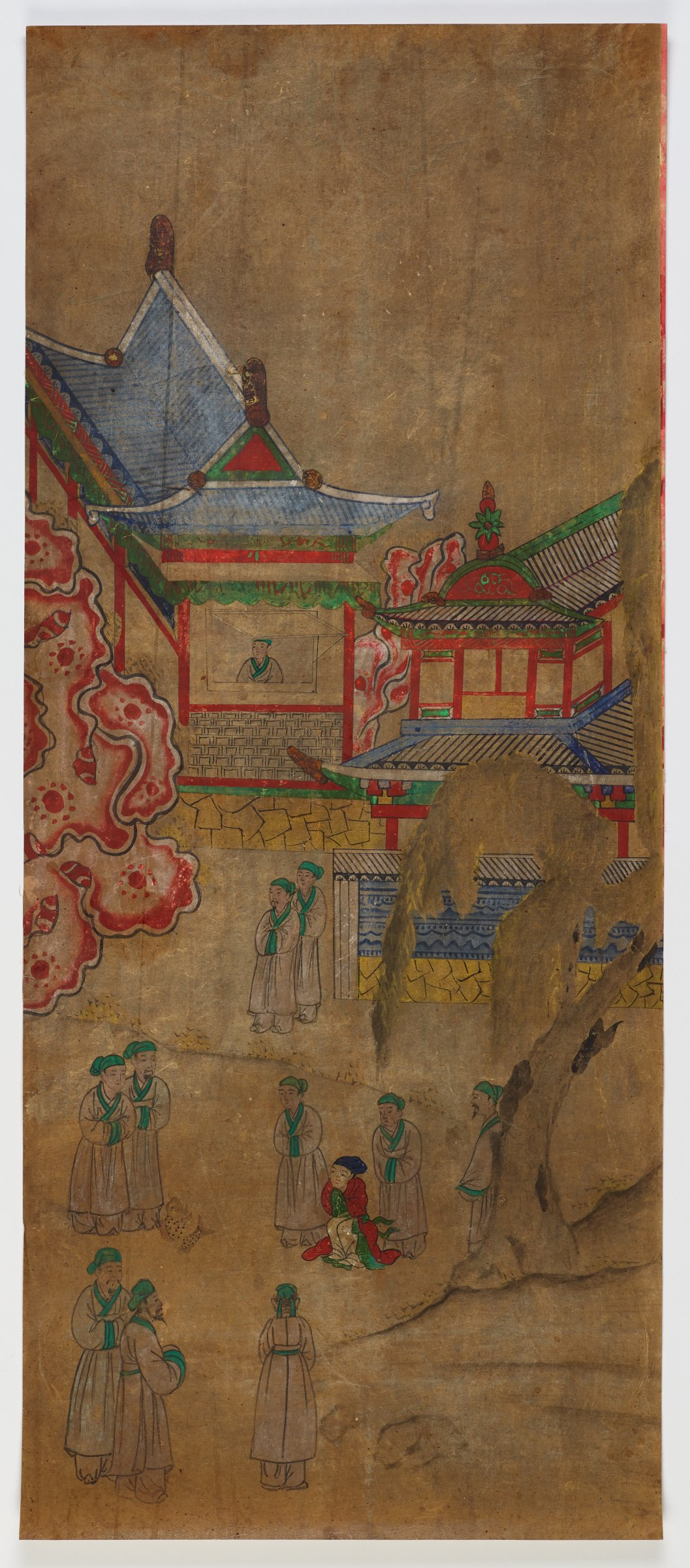 One of eight unmounted screen panel paintings with scenes of filial piety. Originally intended to be mounted as a folding screen.