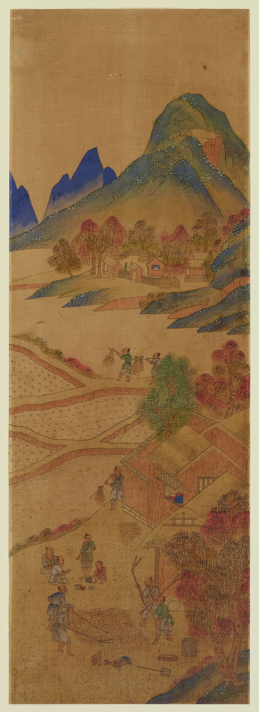 One of eight scenes of planting and harvesting rice and the various stages of silk production. The set was intended to be mounted as a folding screen.
