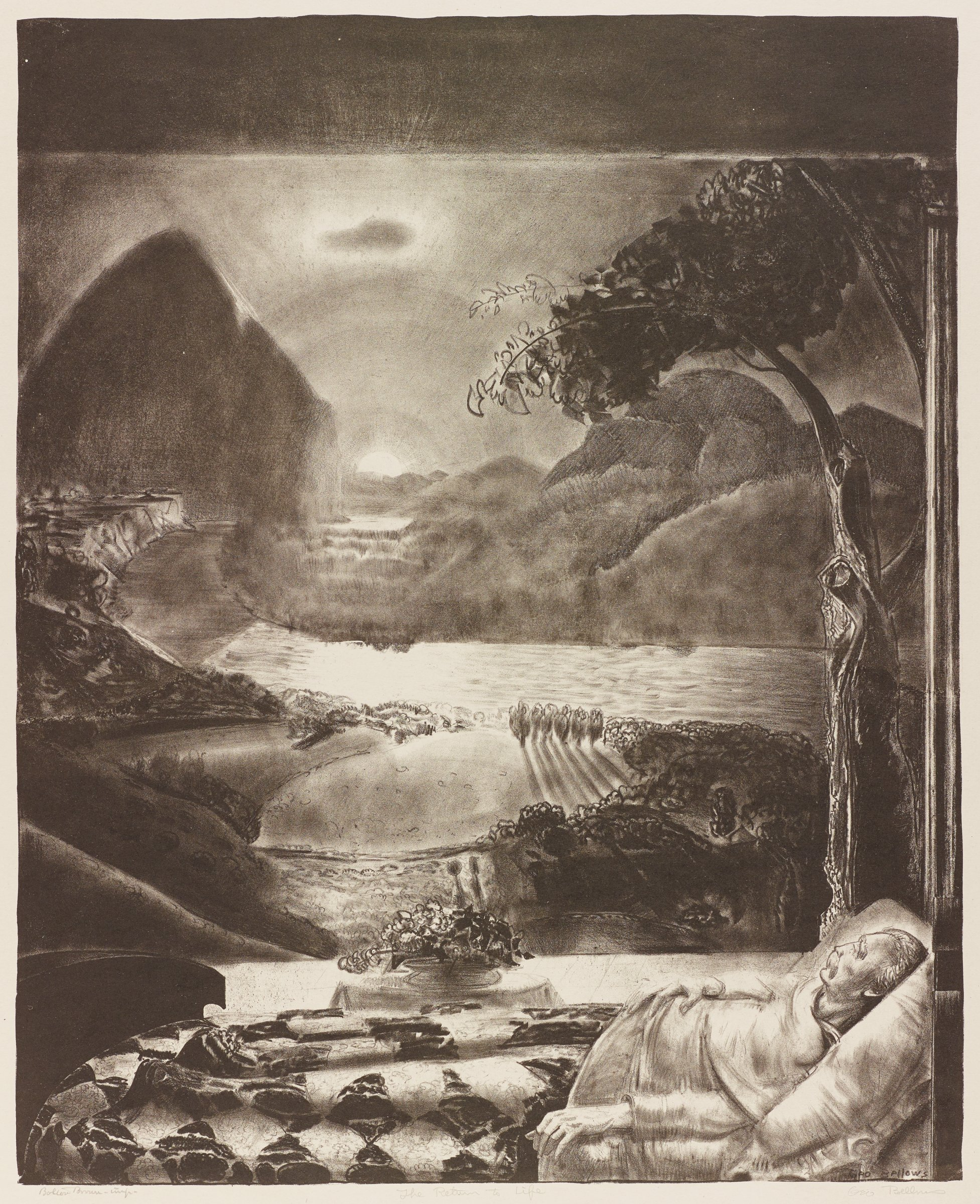 """The Return To Life (from H. G. Wells' series """"Men Like Gods""""), George Wesley Bellows, Printed by Bolton Coit Brown, lithograph"""