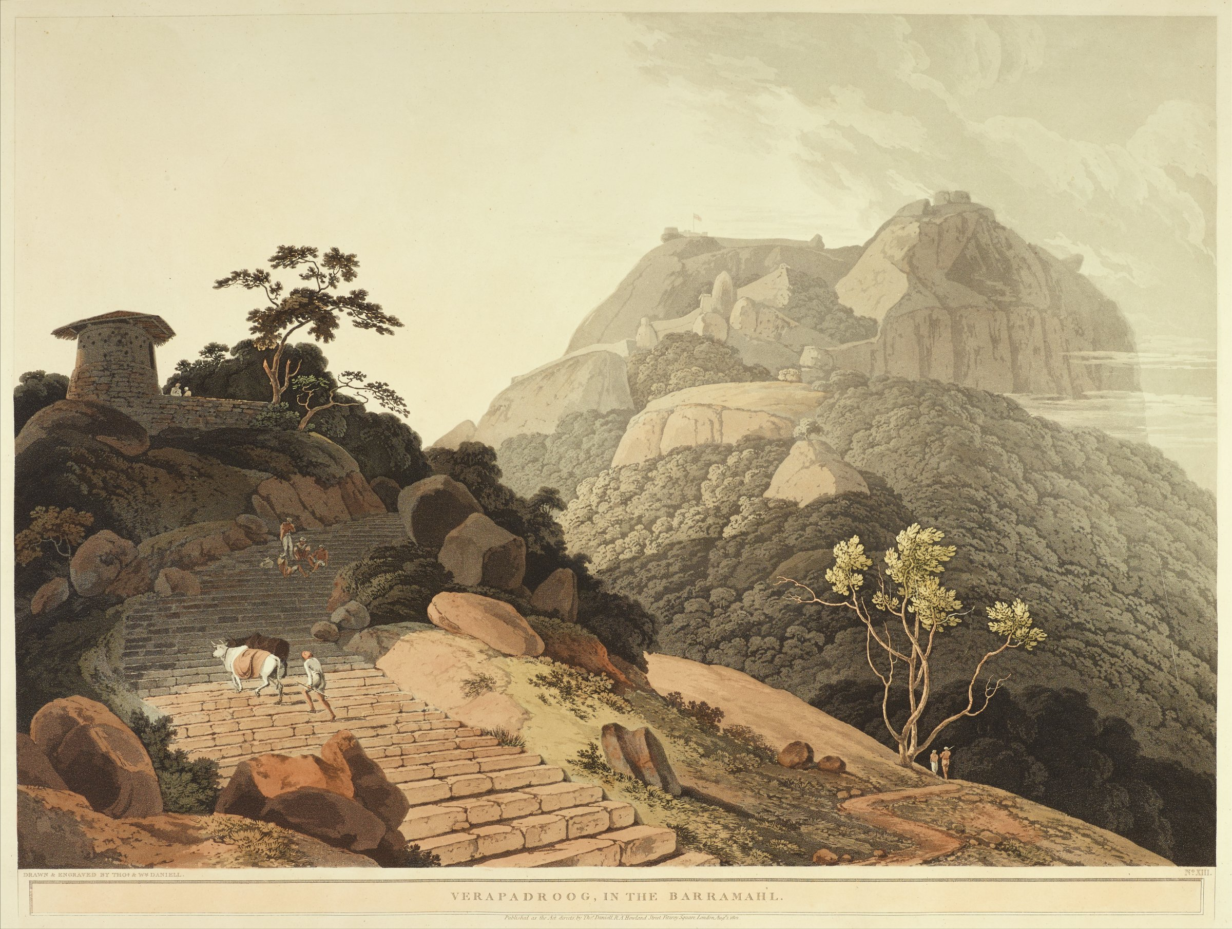 In a mountainous landscape, stone stairs rise along the lower left of the composition. A figure walks two cows up the stairs, and four figures gather together higher up the stairs in the shade.