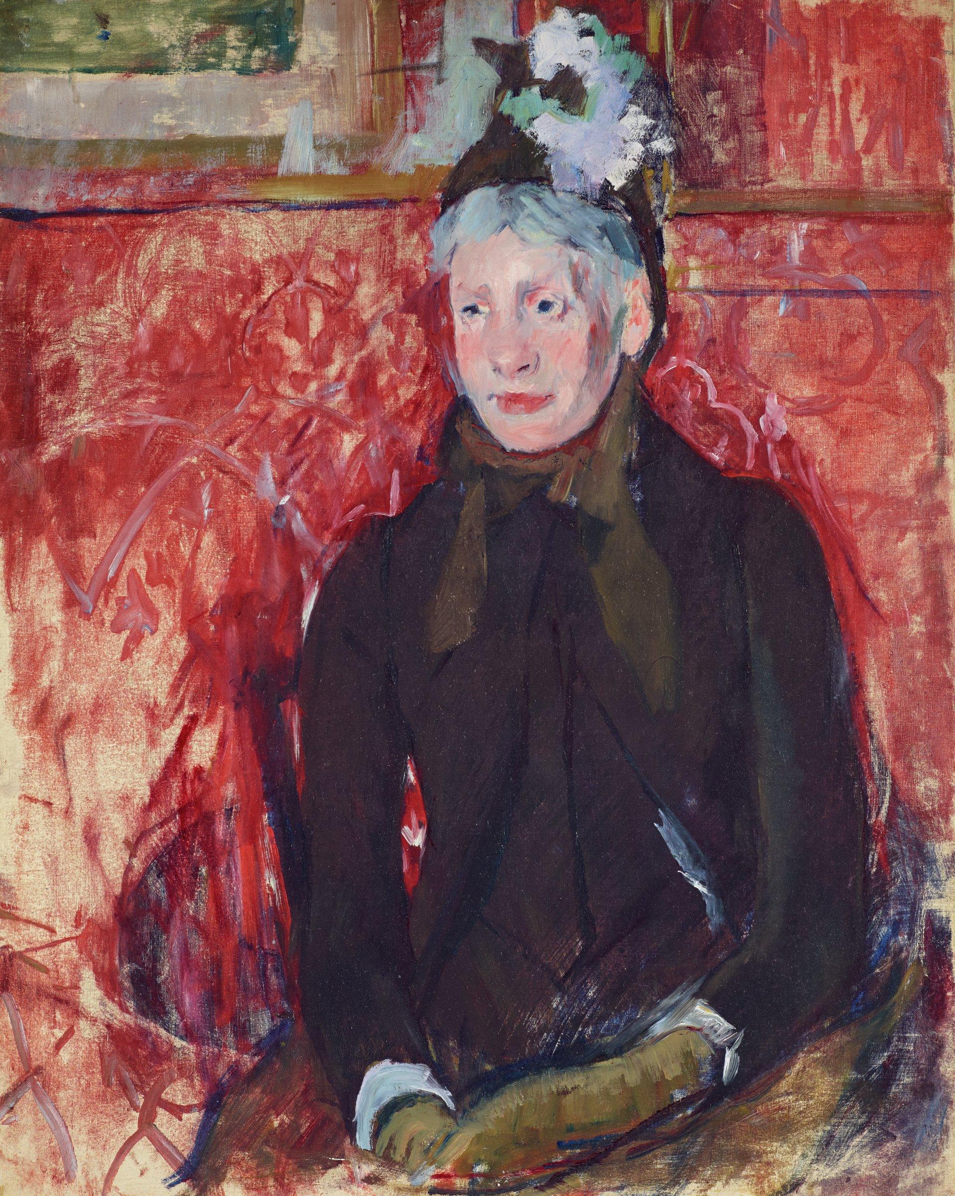 Etude de femme âgée en chapeau: fond rouge (Portrait of an Elderly Lady in a Bonnet: Red Background), Mary Cassatt, oil on canvas