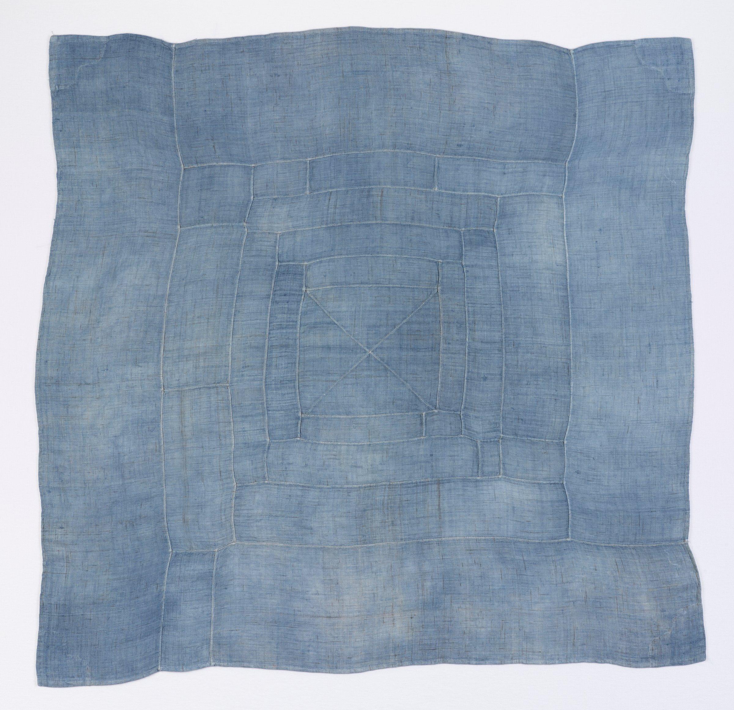Monochrome Blue Wrapping Cloth (Bojagi), Korea, silk and cotton