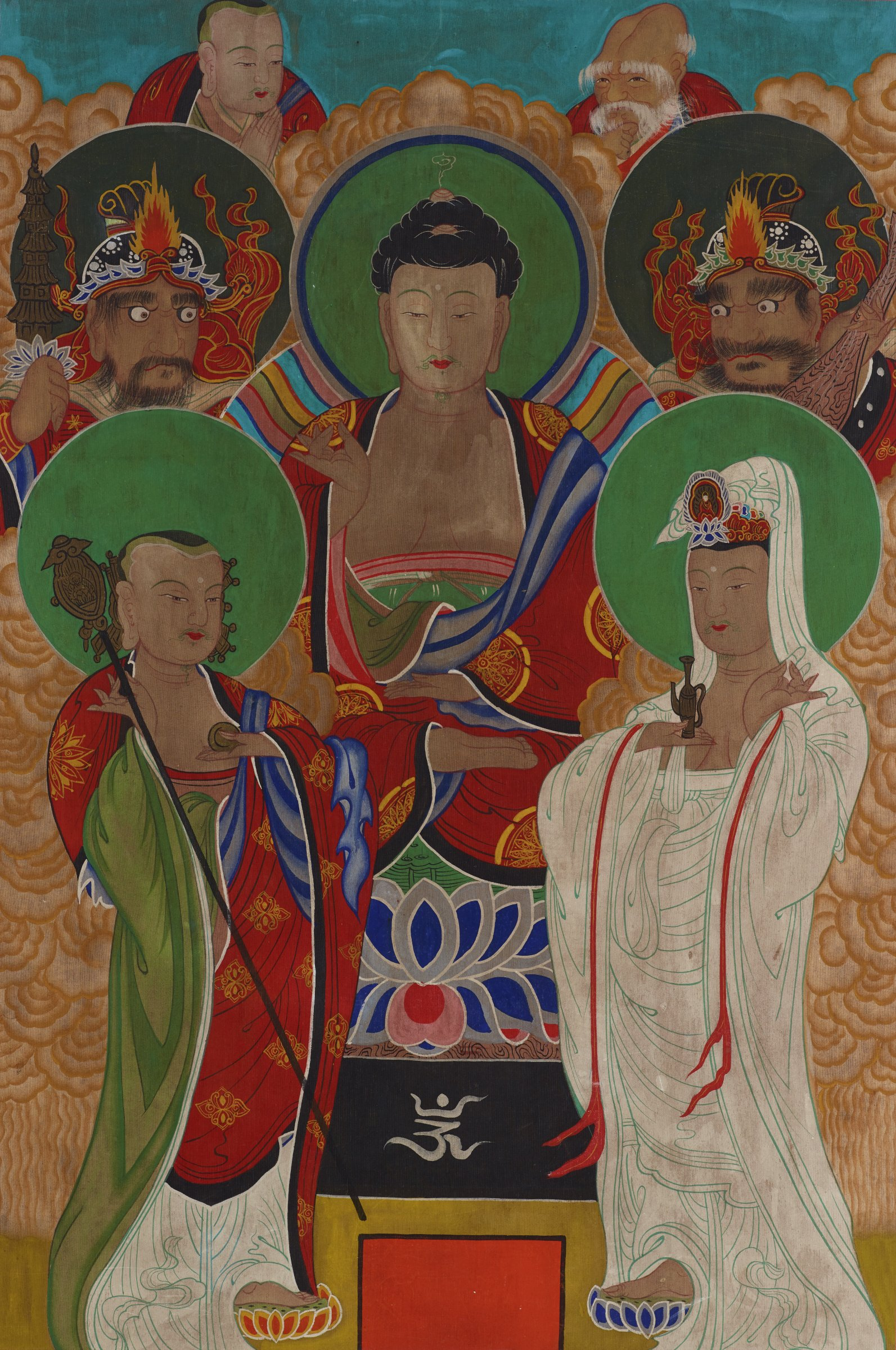 Amitabha Buddha Flanked by Kshitigarbha (Jijiang Bosal) and Avalokiteshvara (Gwanum Bosal), Dongja, Old Man of Longevity and Two Protectors
