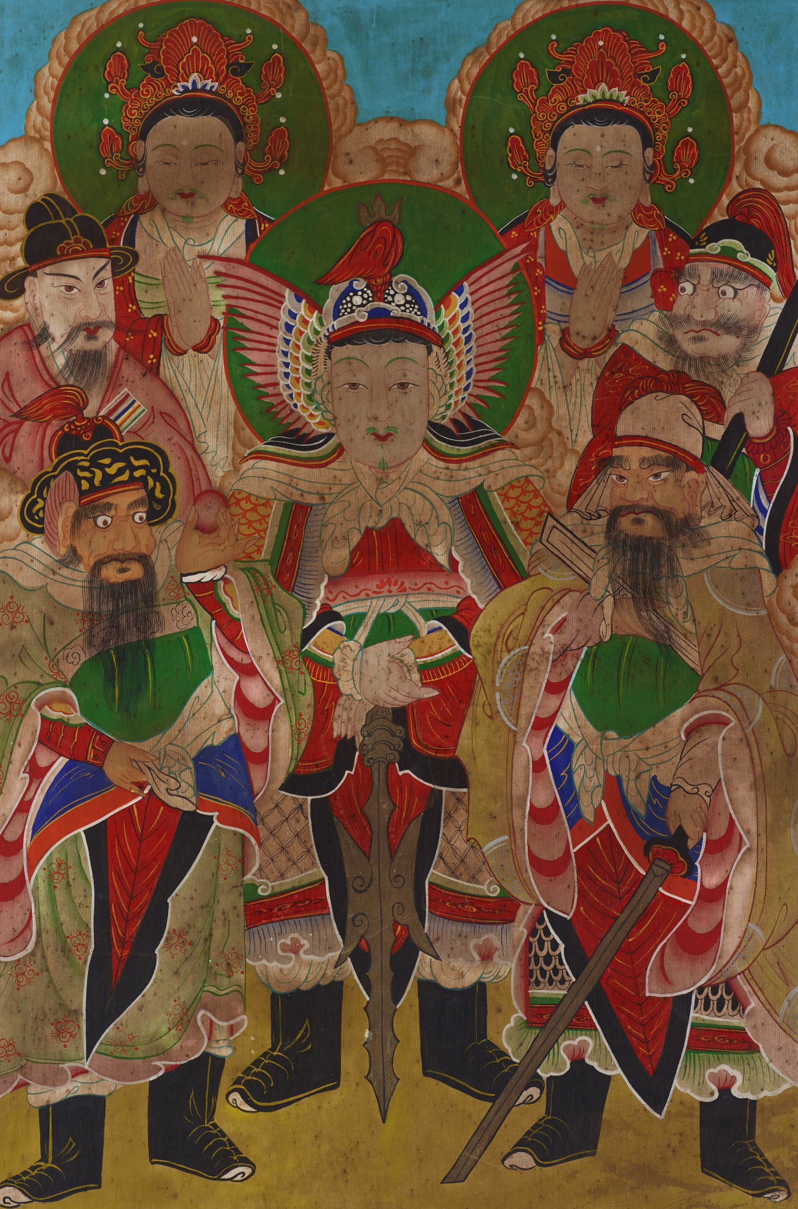 Painting of five guardian generals with two attendant deities--Brahma and IndraDragon King may be in lower left, with jewel. Lower right holds a book and sword