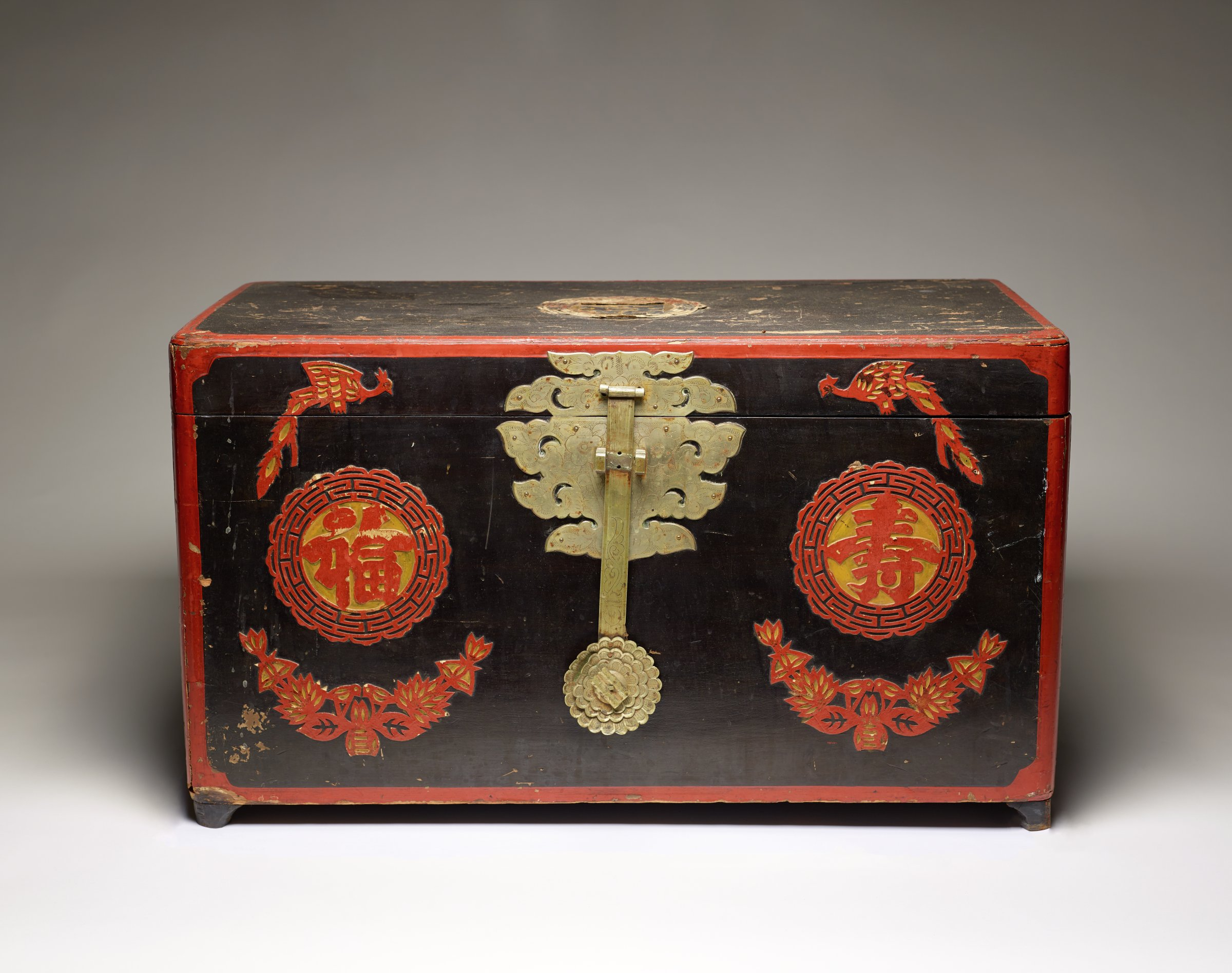 """Wedding Document Box with Pheonix Couple, Flowers """"Luck"""" and """"Long Life"""" Motifs, Korea, wood, silver and lacquer"""