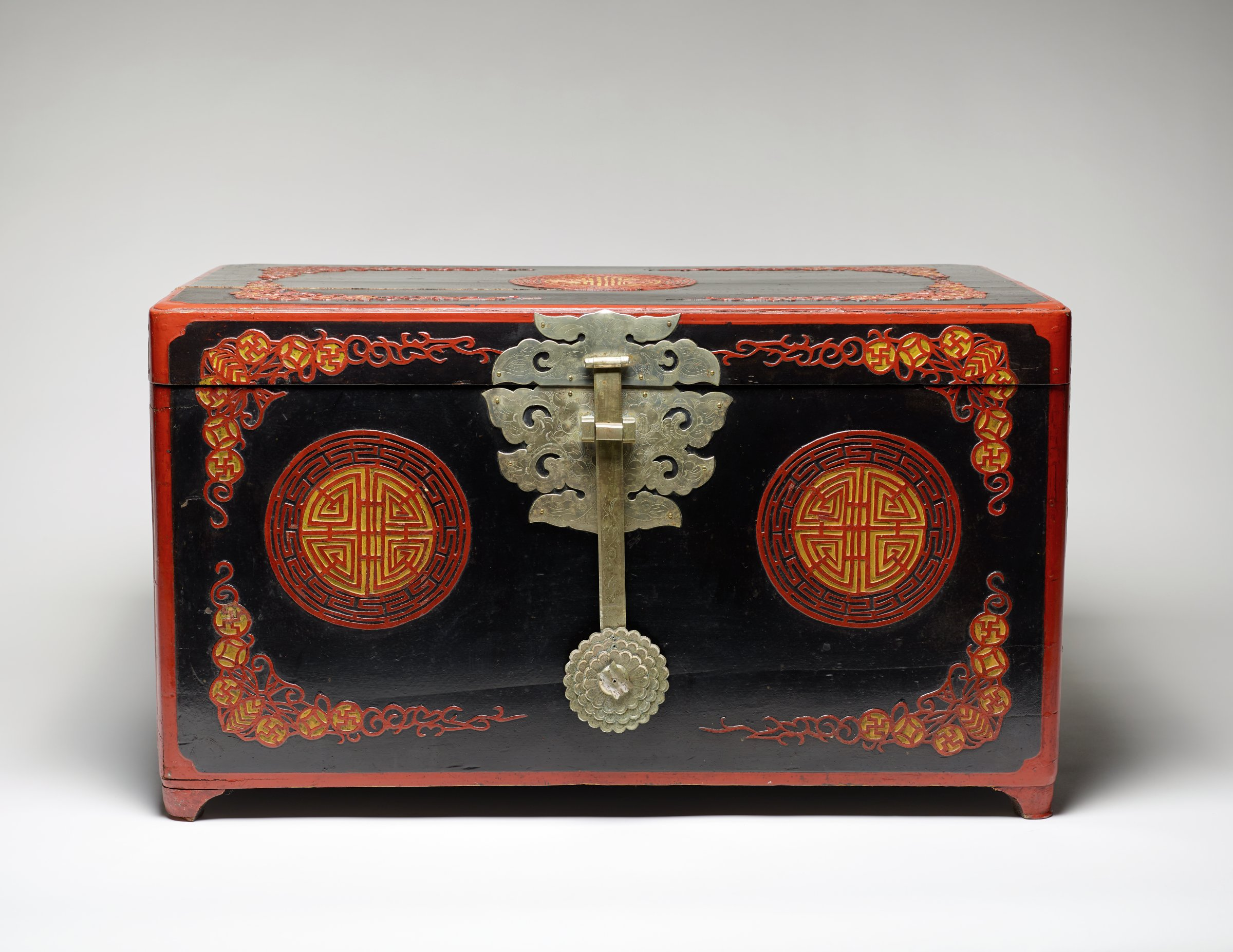 Wedding Document Box with Butterfly, Coins and Longevity Motifs, Korea, wood, silver and lacquer
