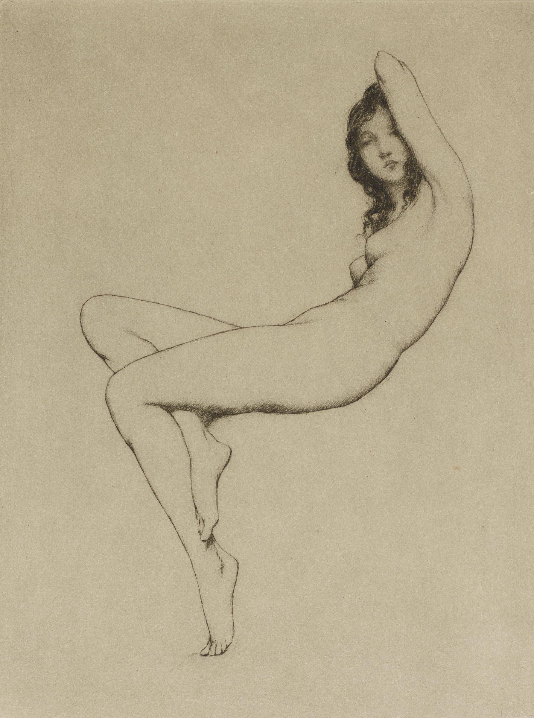 Crescent (Nude), Warren Davis, etching