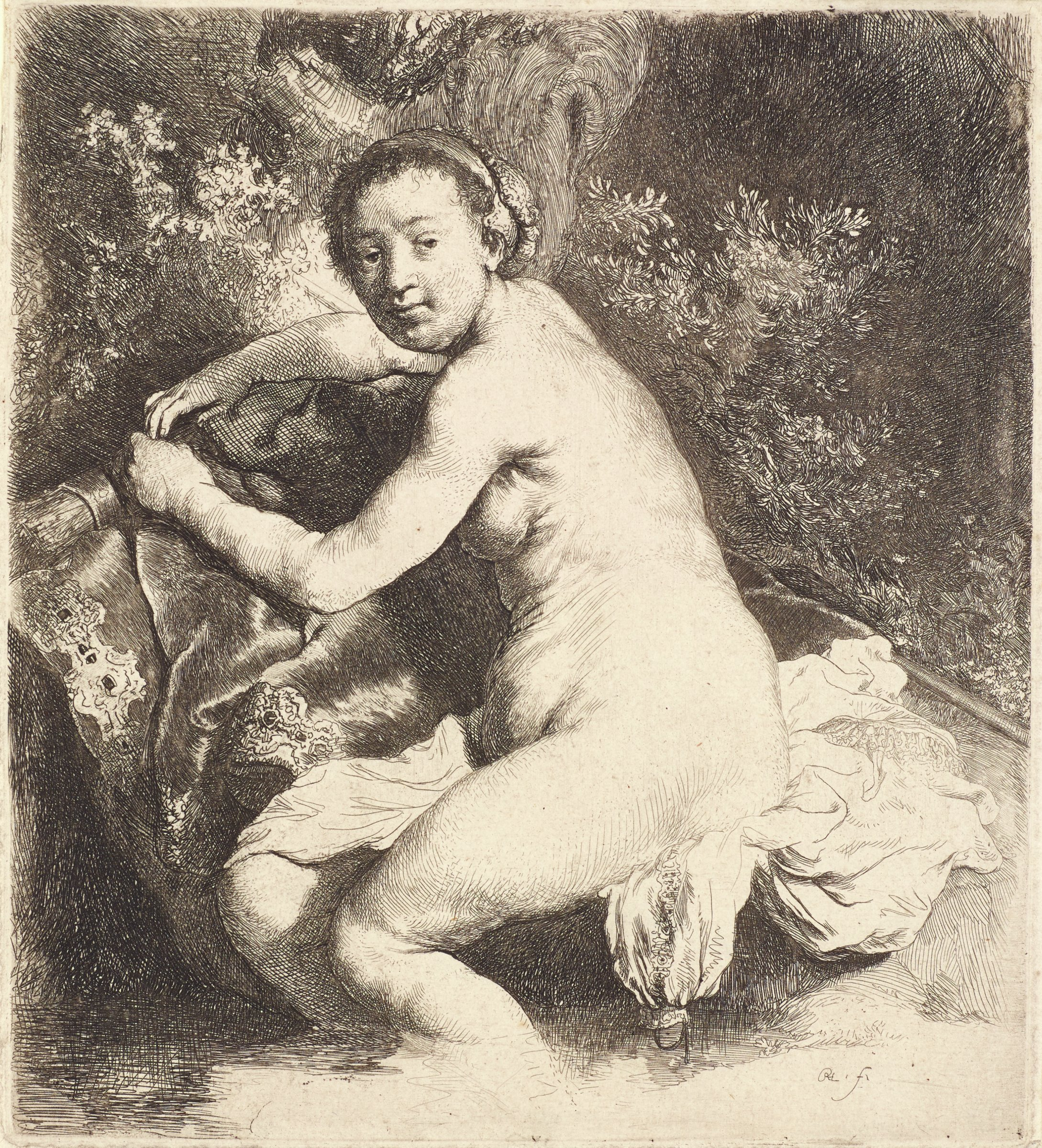 A nude female sits on the bank of a body of water. She leans slightly on a rock and turns her head to the viewer. A quiver of arrows is seen on the left.