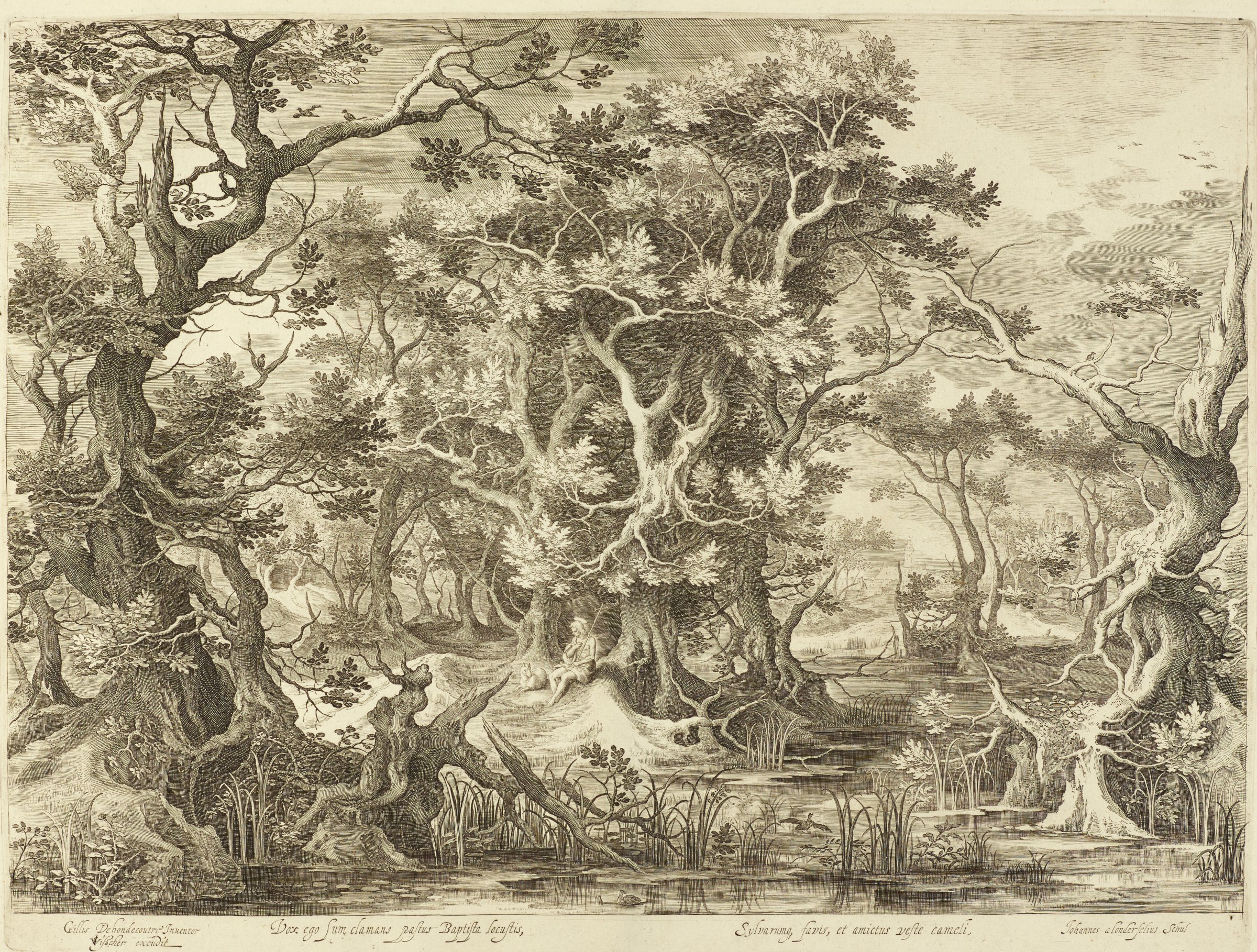 A shallow waterway is surrounded with trees characterized by twisting branches and sparse foliage. A figure sits near the center with a halo and holds a cross. A lamb sits beside him.