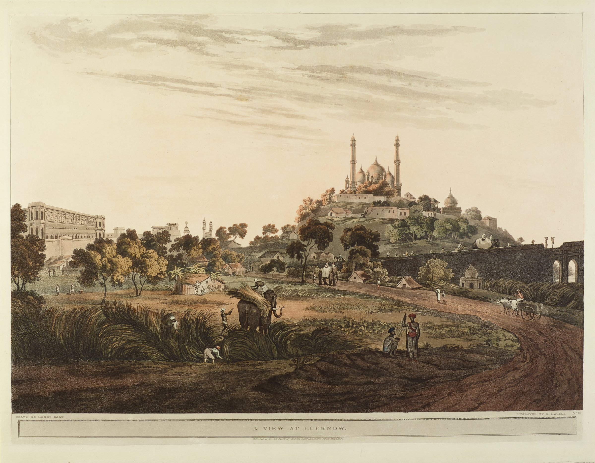 A View at Lucknow, Engraved by Daniel Havell, After drawing by Henry Salt, Published by William Miller, etching and hand-colored aquatint