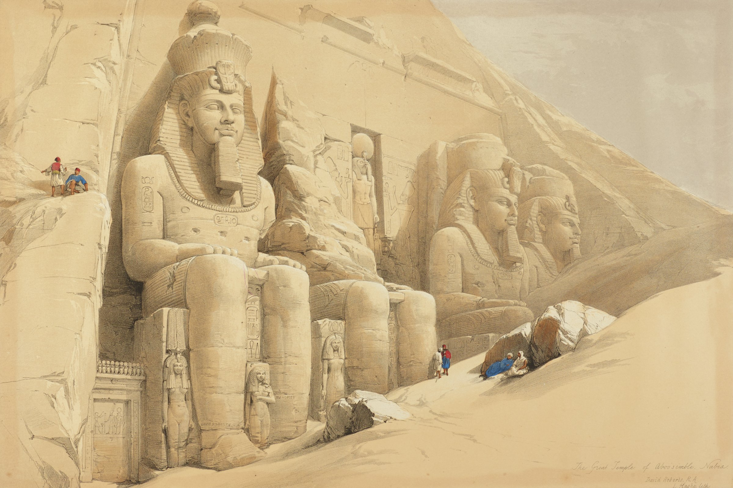 Several figures are seen outside a partially buried temple that is decorated with colossal figures and hieroglyphs.