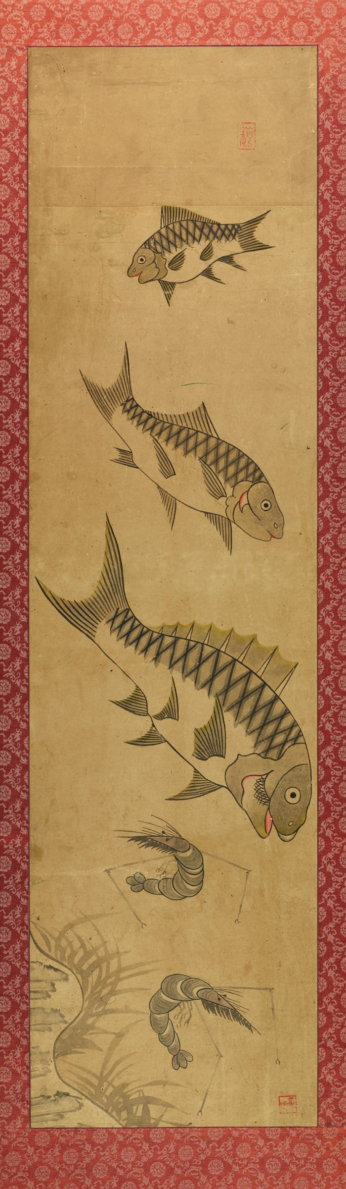 One of a pair of mounted and framed scroll paintings, depicting fish and shrimp