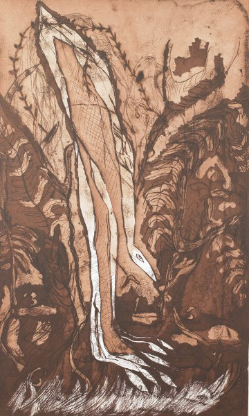 A brown and off-white (the paper) composition that intermingles abstraction and floral and faunal imagery. A range of printing techniques were employed, producing a variety of stylistic looks - fine lines, brush work, etc.