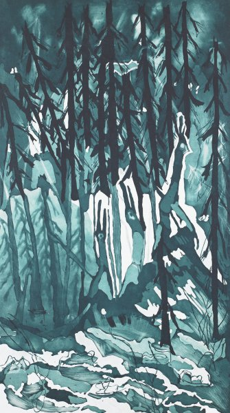 An arboreal forest in cool blue-greens, with a stand of black-trunked firs.