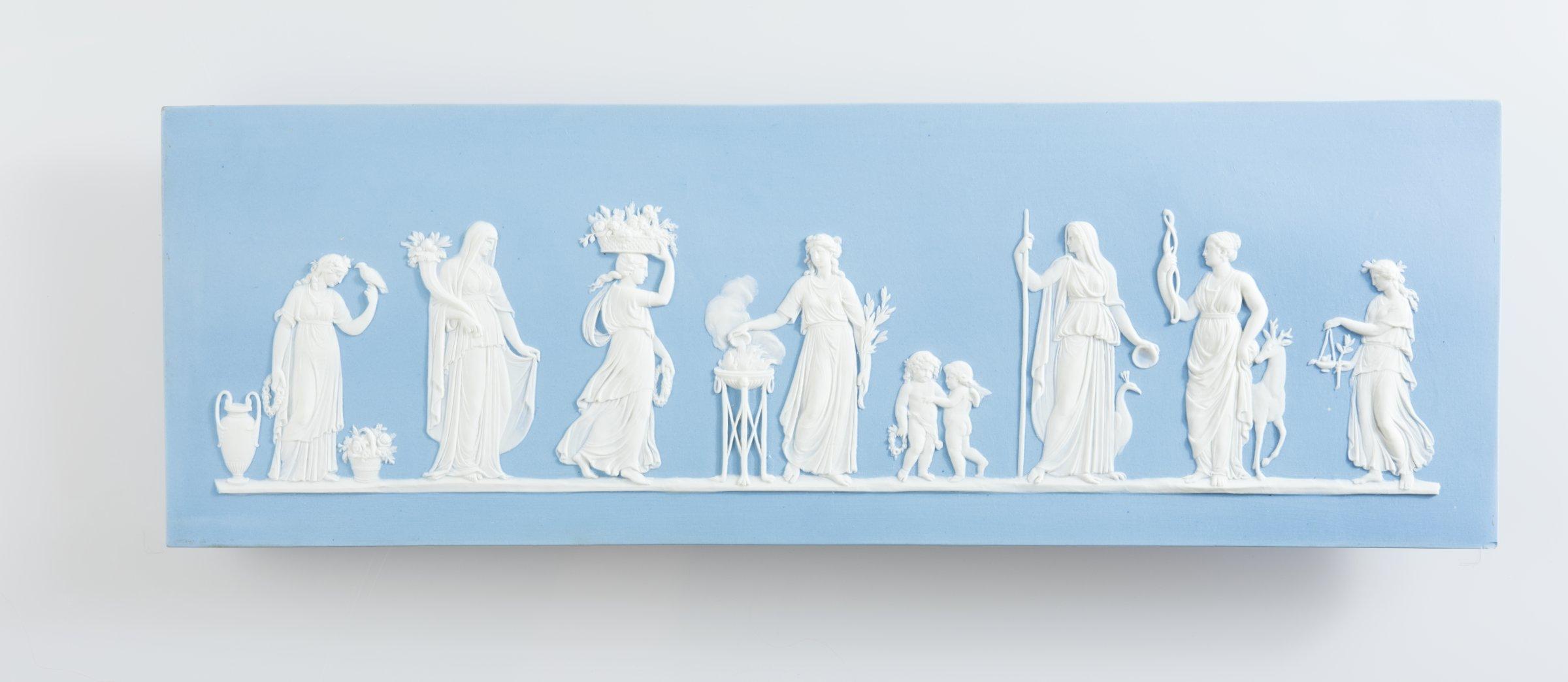 Rectangular blue jasper plaque with white relief scene of Sacrifice to Ceres