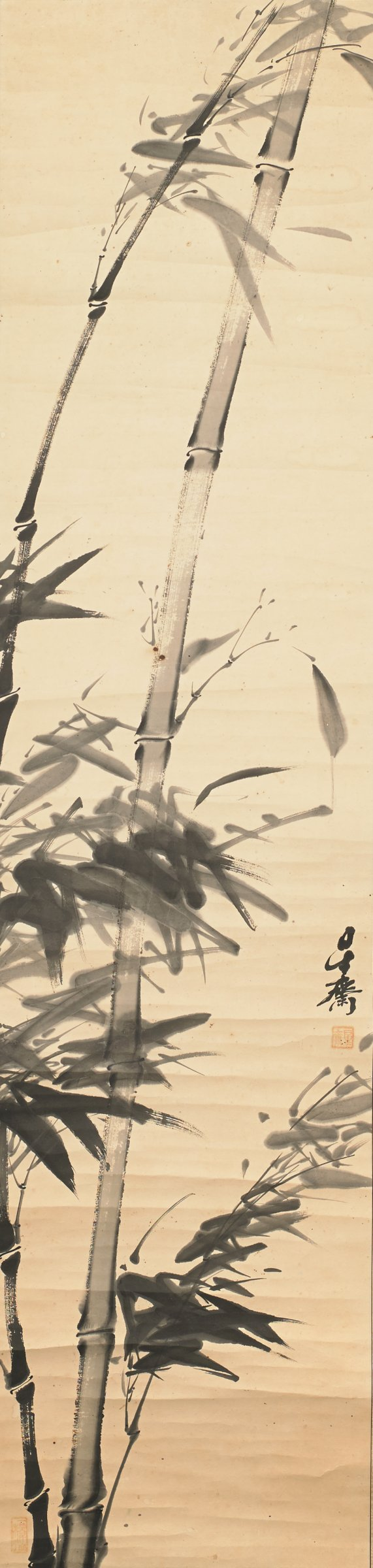 Hanging scroll of Bamboo with Signature and Red Seal