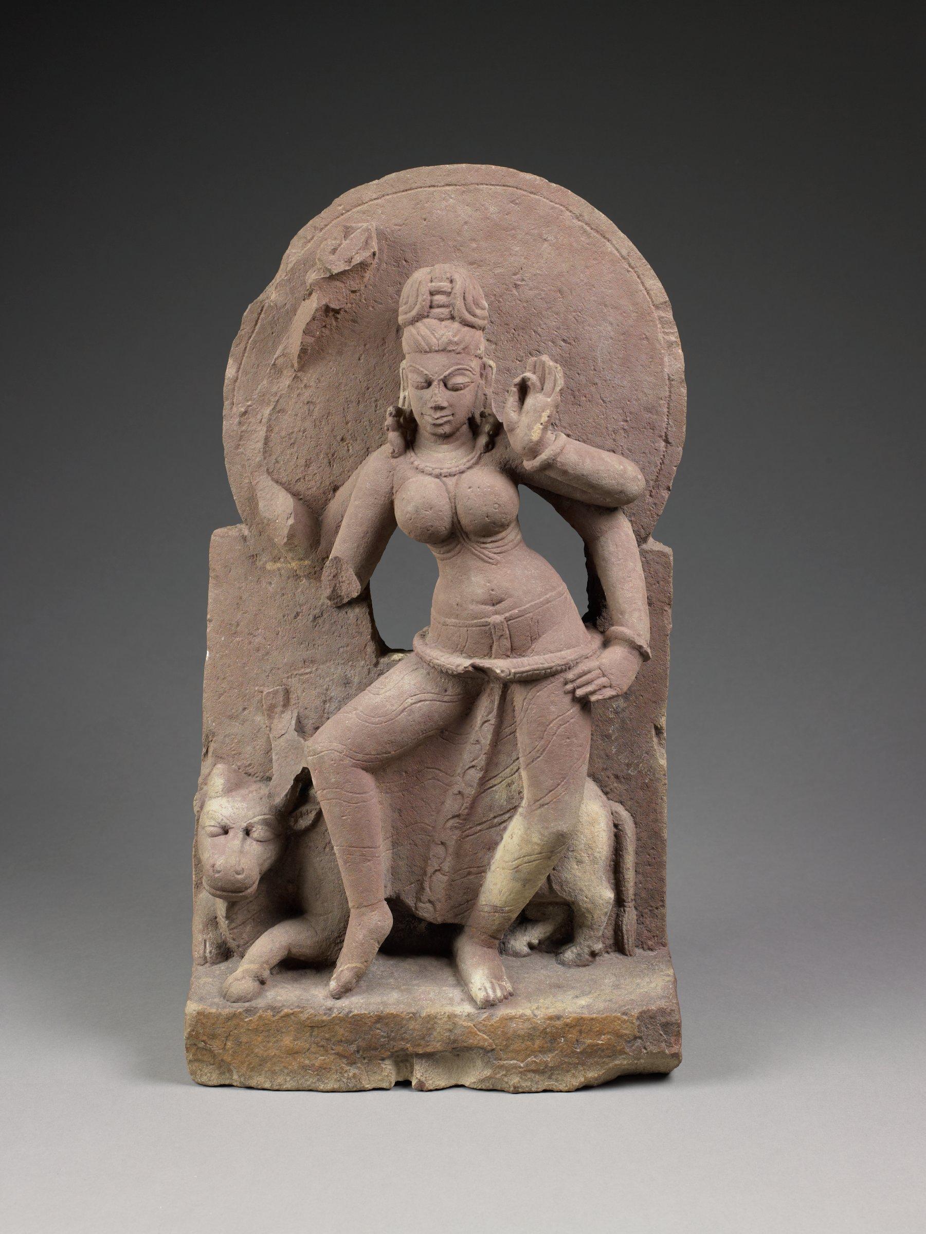 Matrika Maheshwari with the Zebu Bull Nandi, India, sandstone