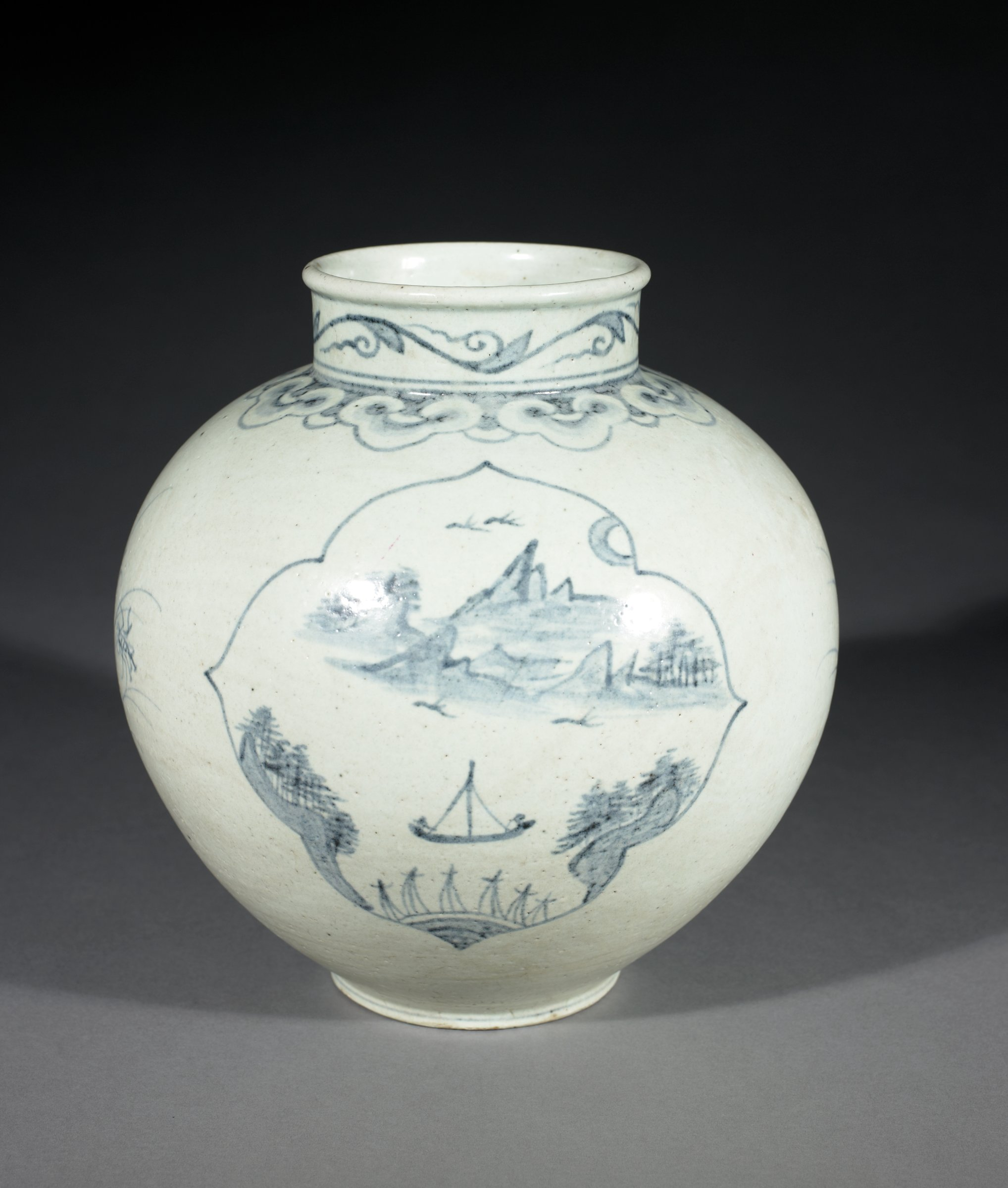 Moon Jar with Vine and Cloud Collar and Maritime Motifs including sail boats and possible moon viewing scenes.