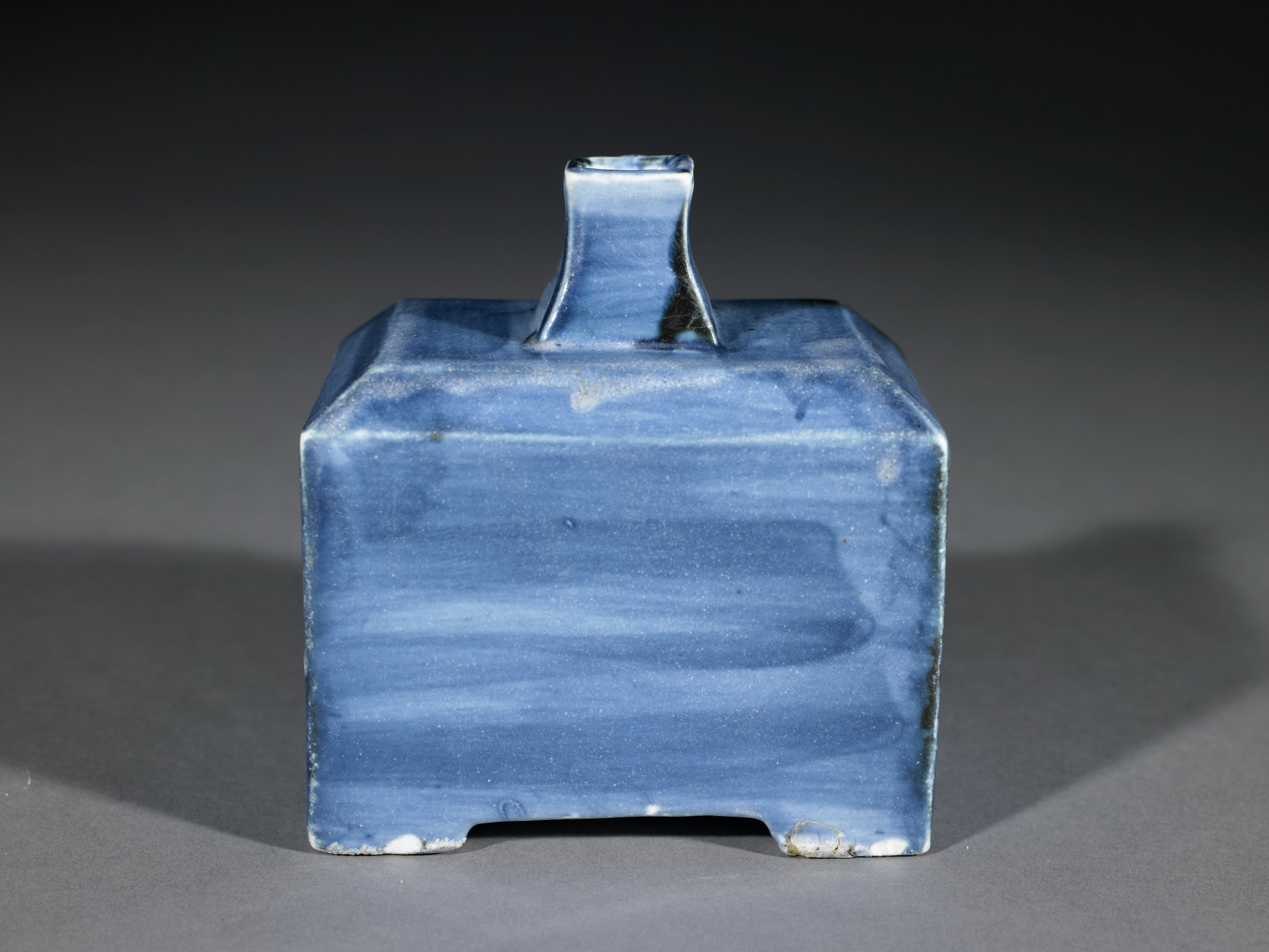 Square bottle with overall cobalt blue decoration