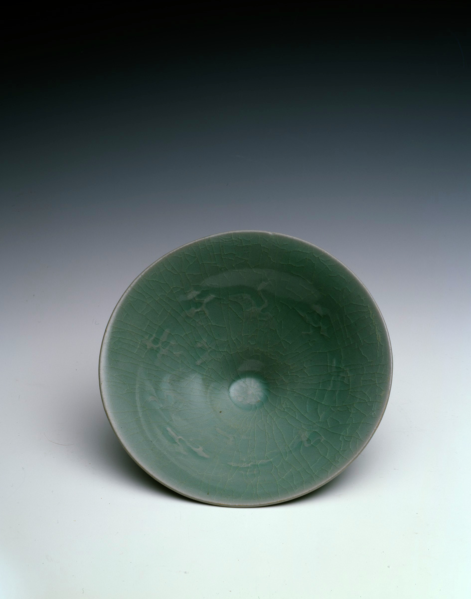 Celadon Bowl with Cranes Flying Among Clouds Interior Motif