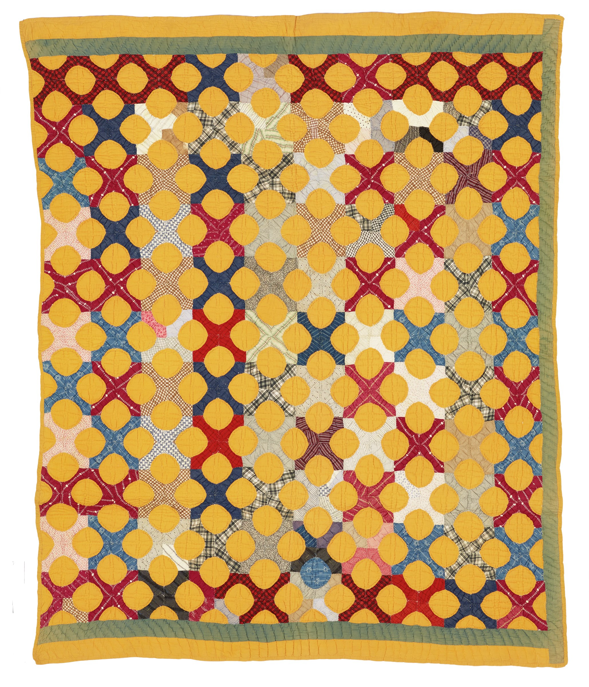 """Large quilt of plain and printed cotton fabrics in the """"Snowball"""" pattern, the top with a pattern of small squares of different fabrics pieced in a grid pattern and on these are sewn rows of round, orange """"snowballs"""" giving the quilt the look of an optical illusion, bordered on the two short sides with a band each of orange and blue fabrics (the blue is very faded) and on one long side edged in orange and on the other long side a blue band edged in orange, the backing of plain, cream-colored cotton."""