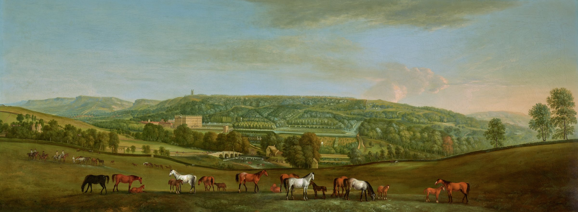 A vast landscape with Chatsworth House and its park in the middle ground. Various horses in the foreground.