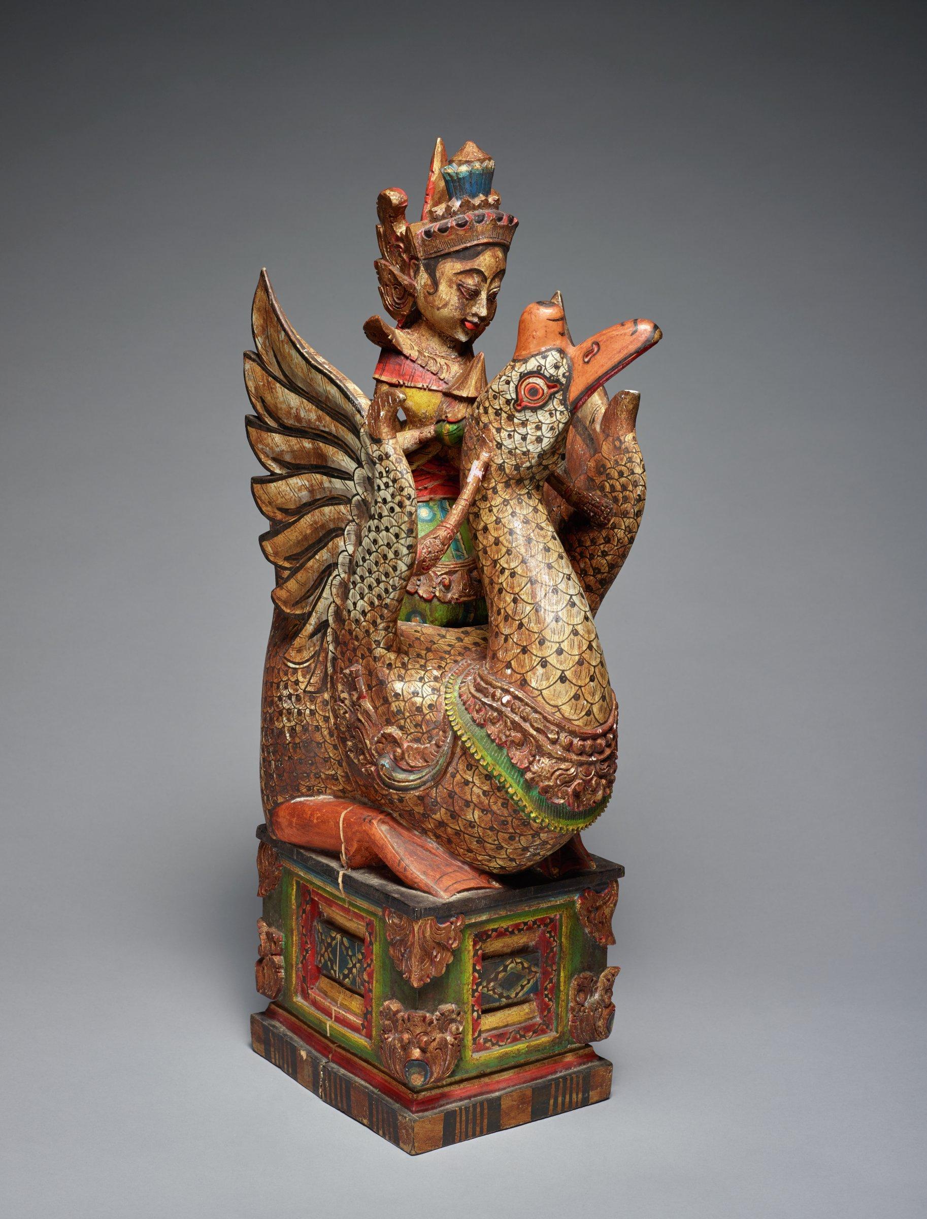 Hamsa, Goose on Ornamental Throne, Indonesia, wood and polychrome