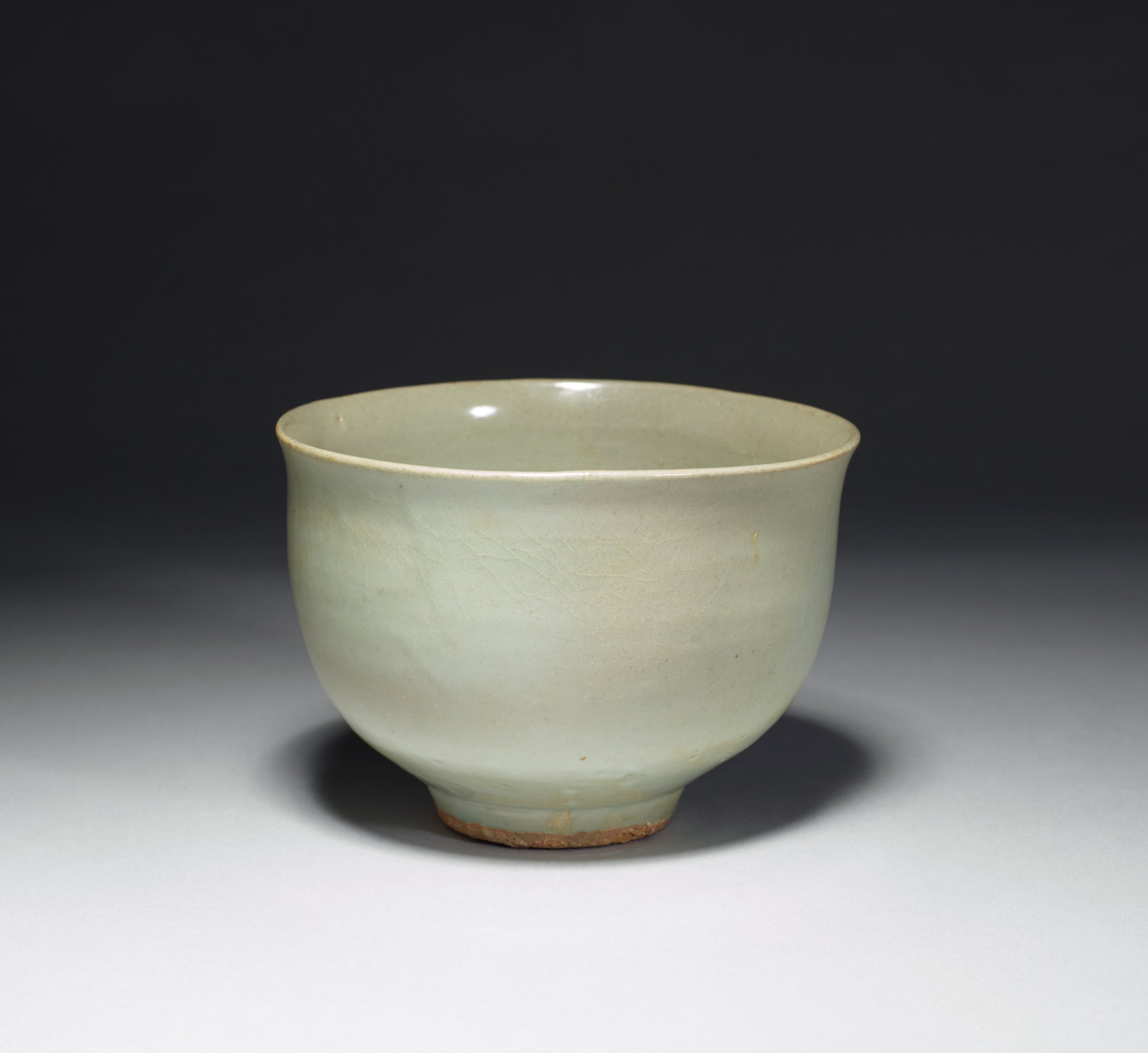 Footed Deep Bowl with Steep Sides and Celadon Glaze
