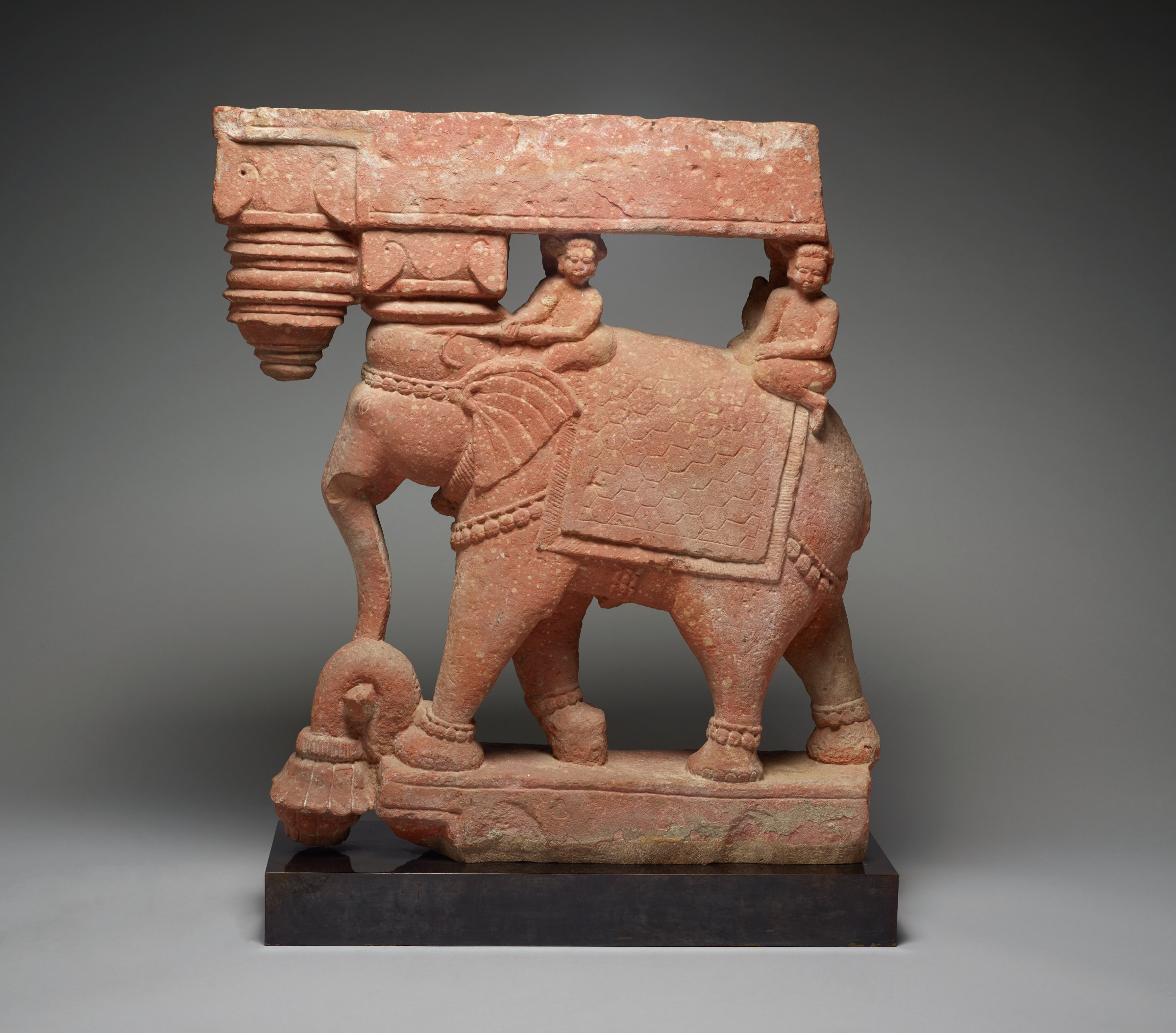 Roof Bracket of Adorned Elephant with Two Riders, India, sandstone
