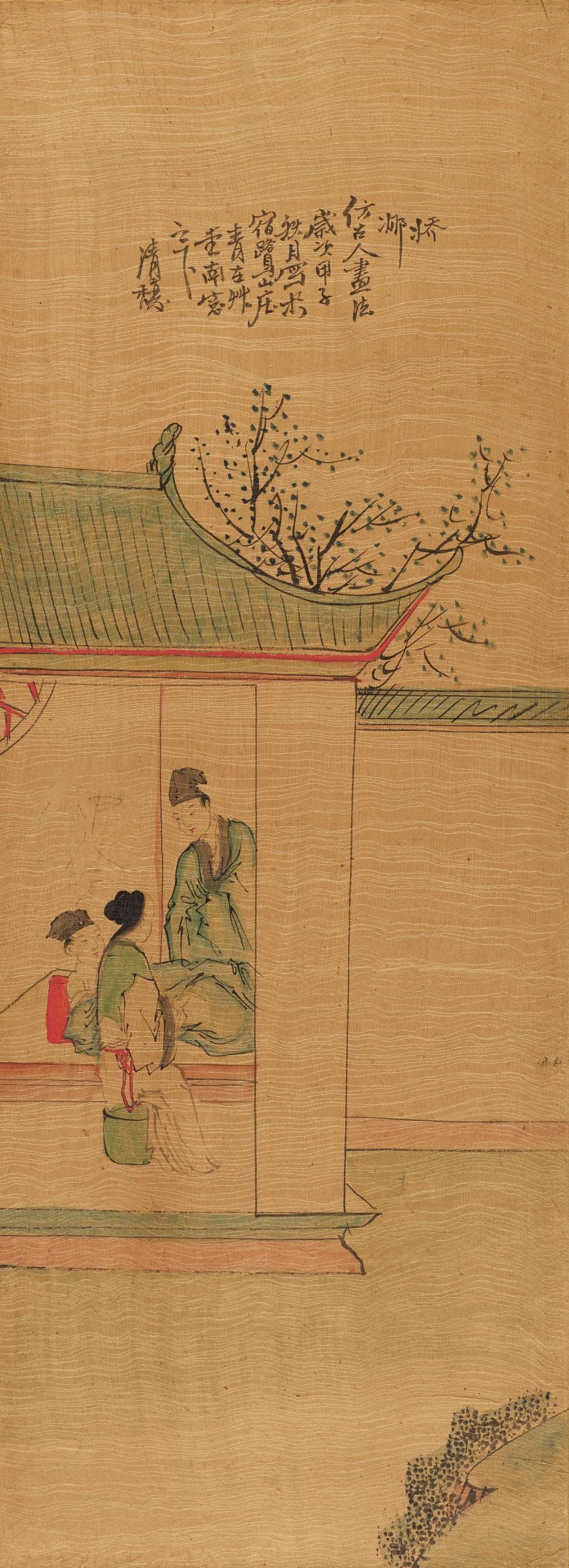 """Mounted and framed painting inscribed with artist's name: Cheongtoe as well as the date """"Autumn 1924"""" Perhaps a narrative scene possibly of a medical encounter?"""